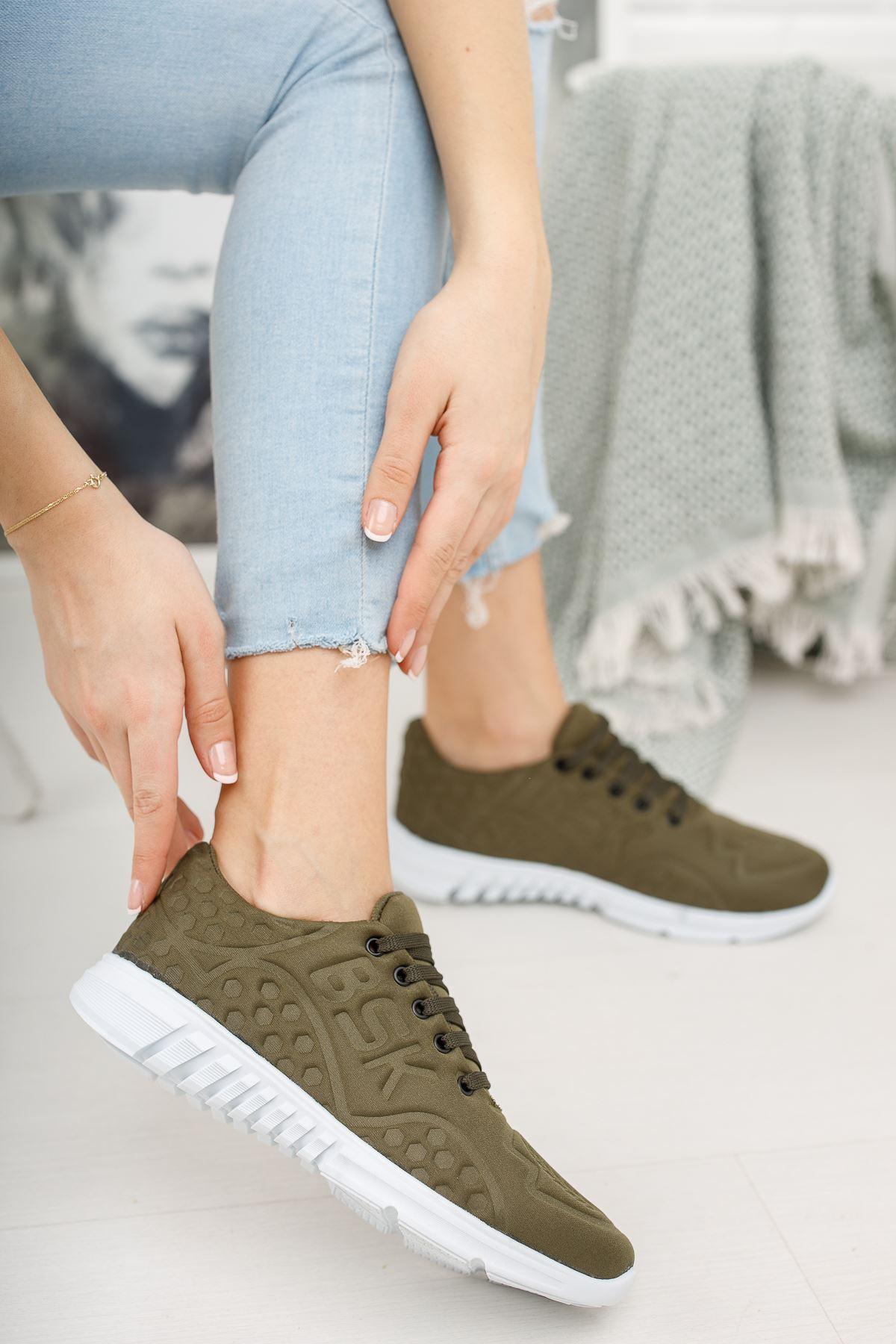 Bağcıklı Haki Spor Ayakkabı