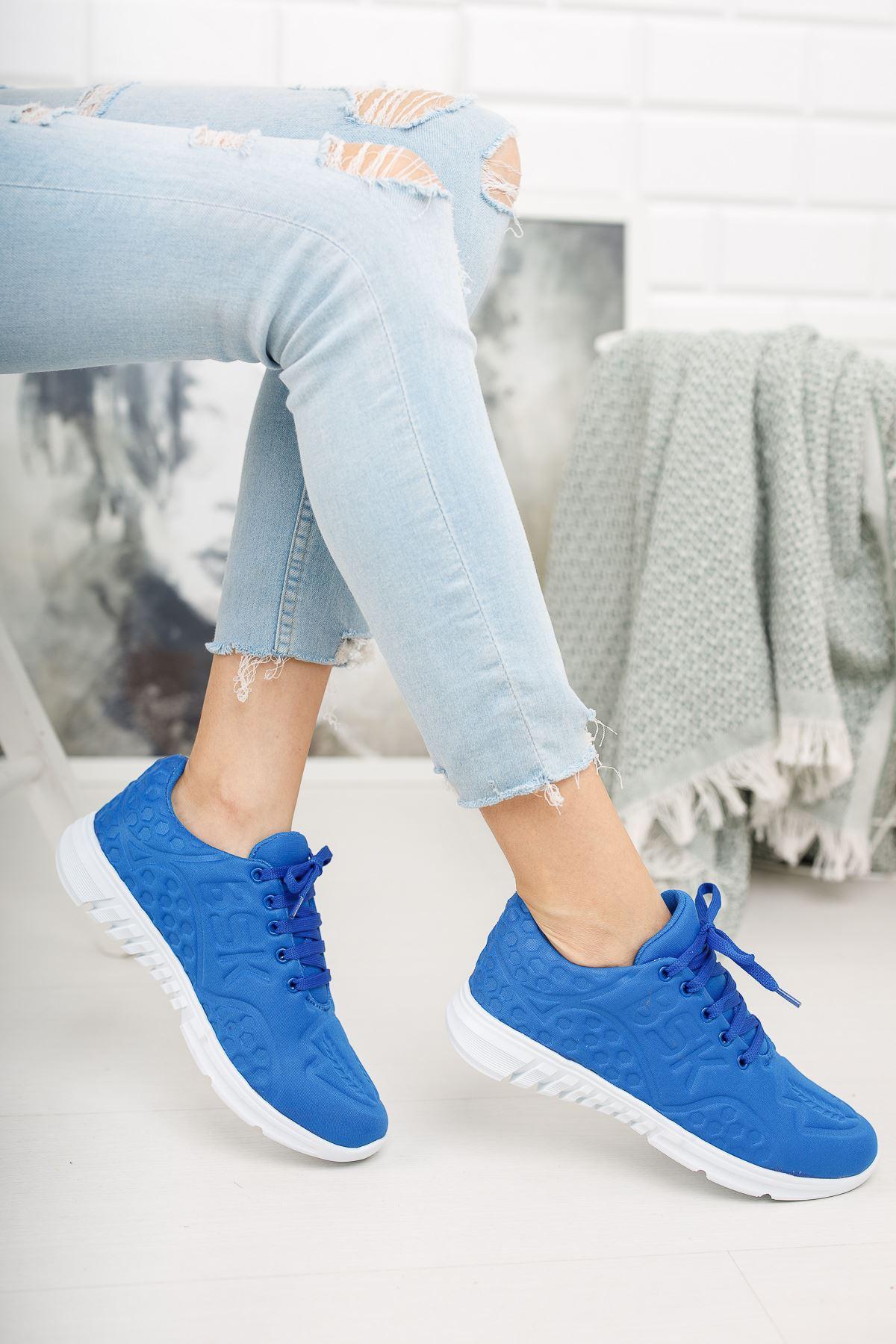 Bağcıklı Mavi Spor Ayakkabı
