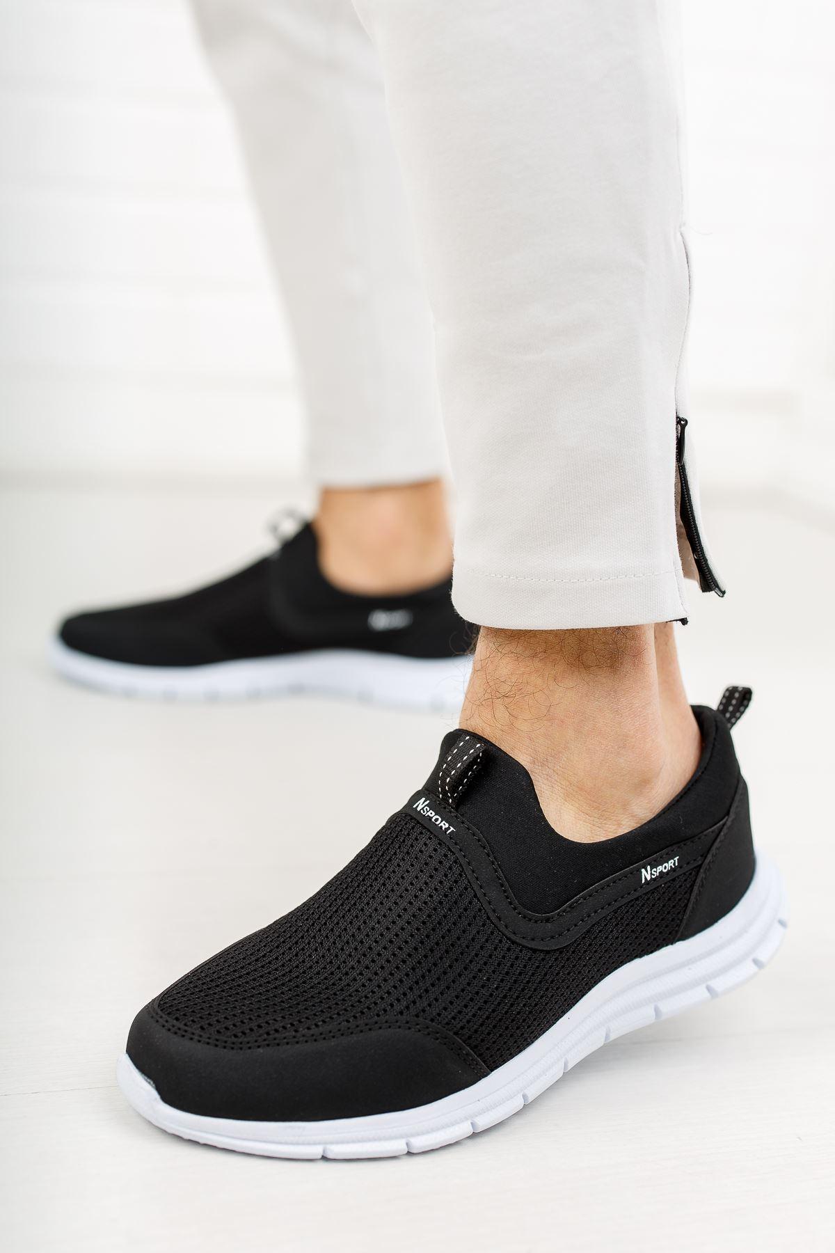 Fileli Siyah Spor Ayakkabı