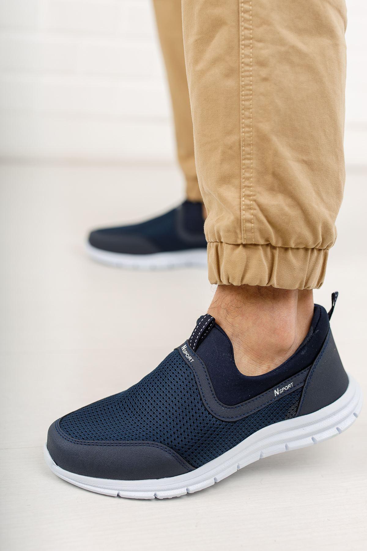 Fileli Lacivert Spor Ayakkabı