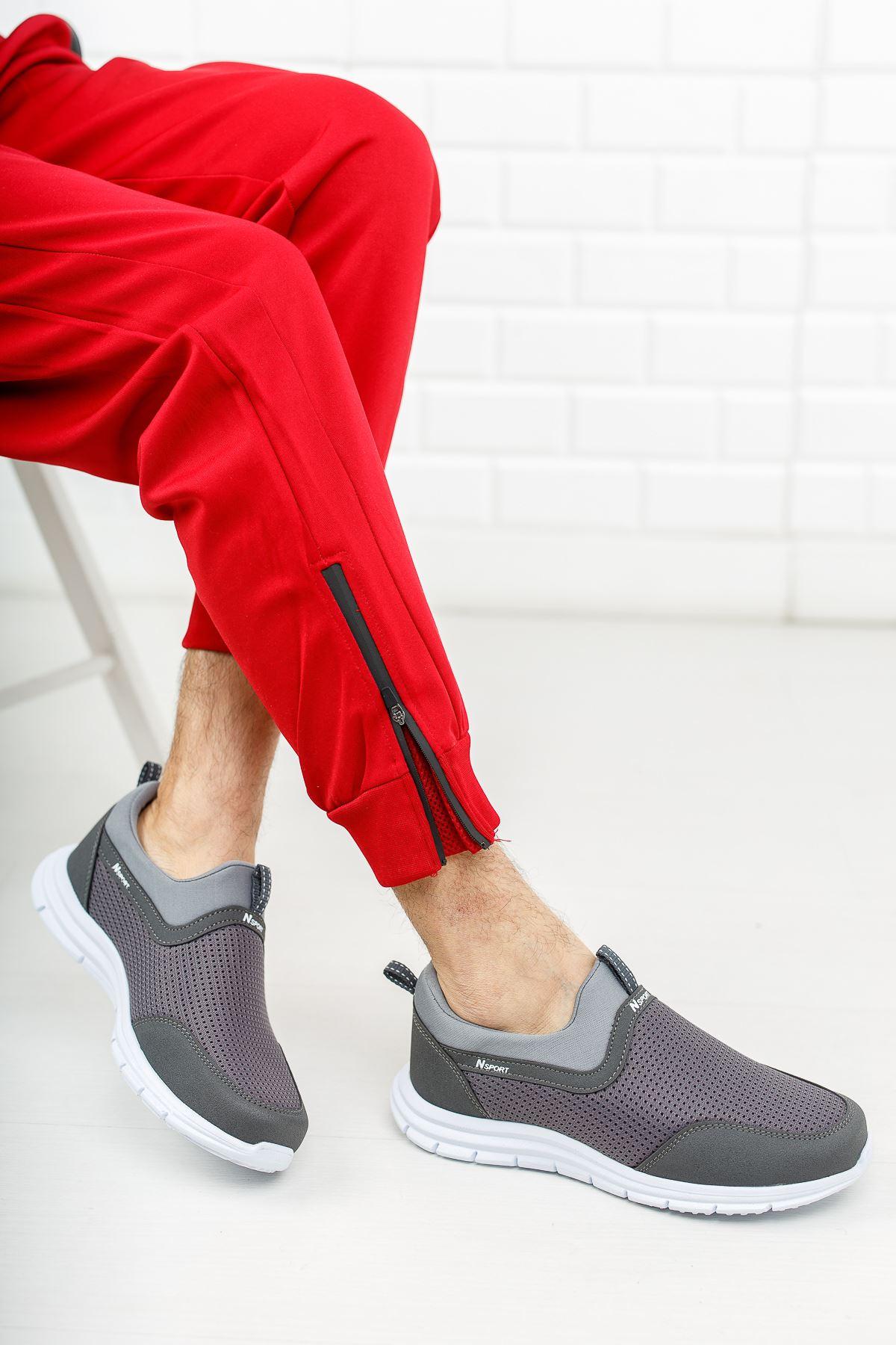 Fileli Gri Spor Ayakkabı