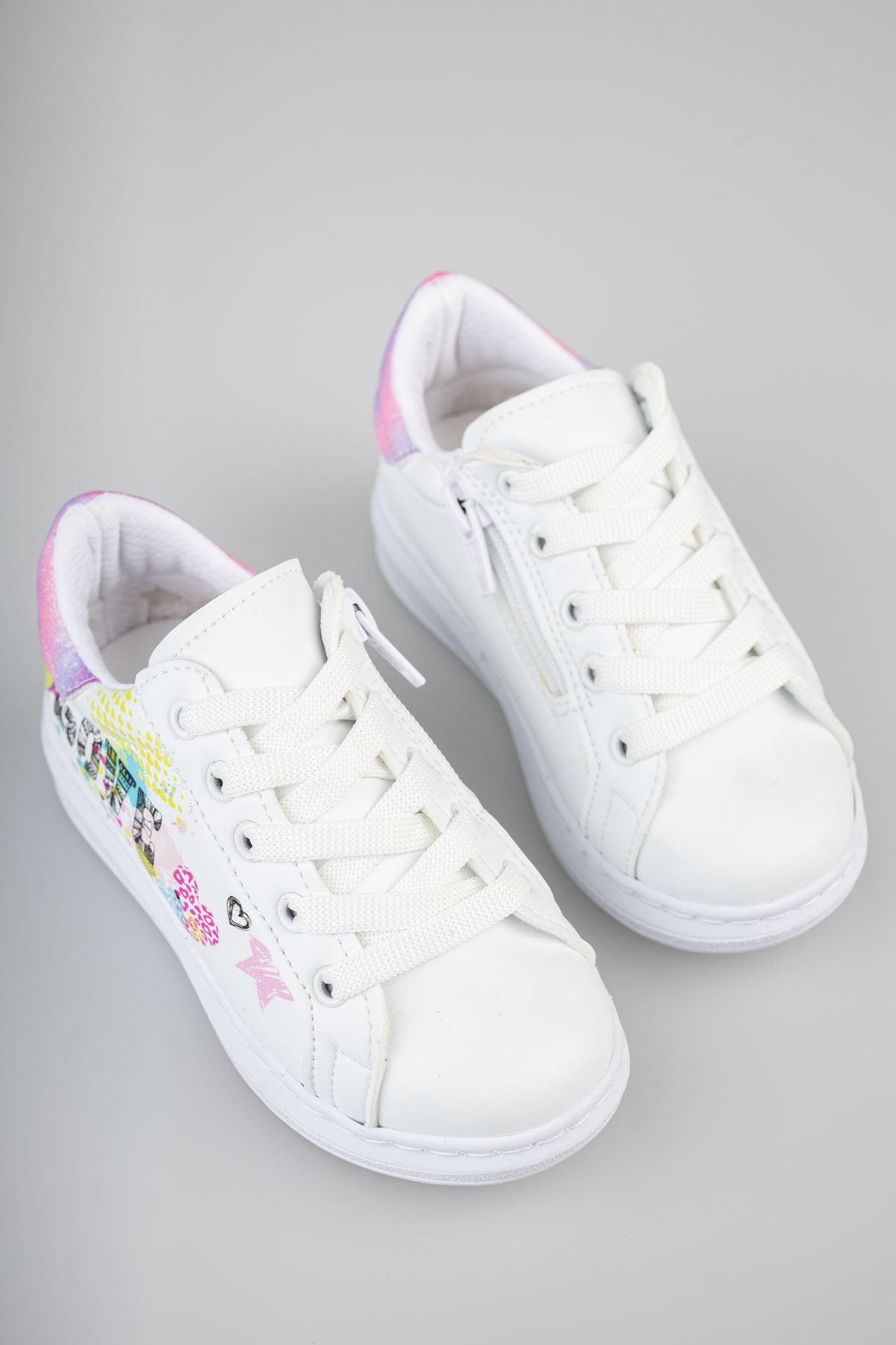 Ortapedik Pedli Bağcıklı Beyaz Çocuk Ayakkabı