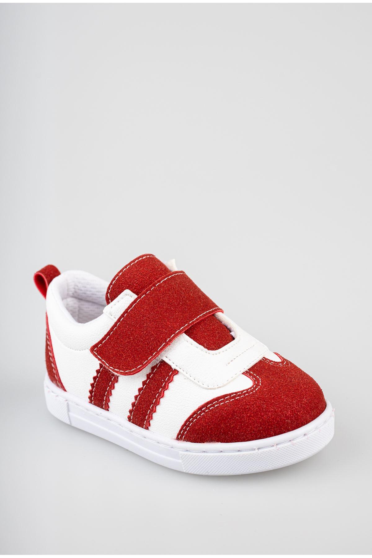 Ortapedik Pedli Cırtlı Kırmızı Bebe Ayakkabı