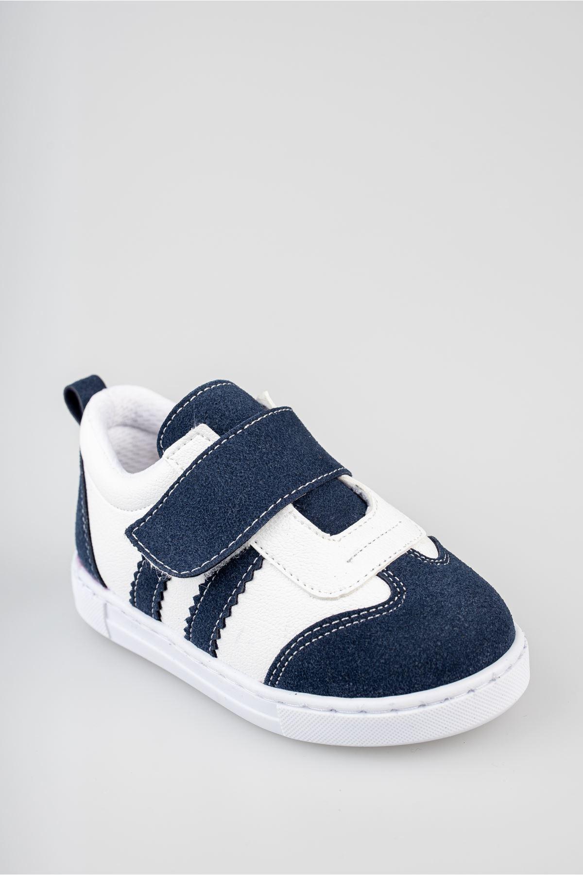 Ortapedik Pedli Cırtlı Lacivert Bebe Ayakkabı