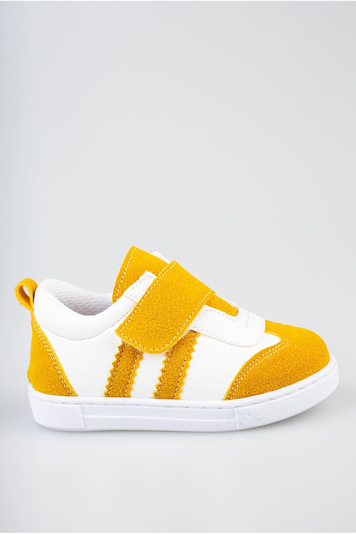 Ortapedik Pedli Cırtlı Hardal Bebe Ayakkabı