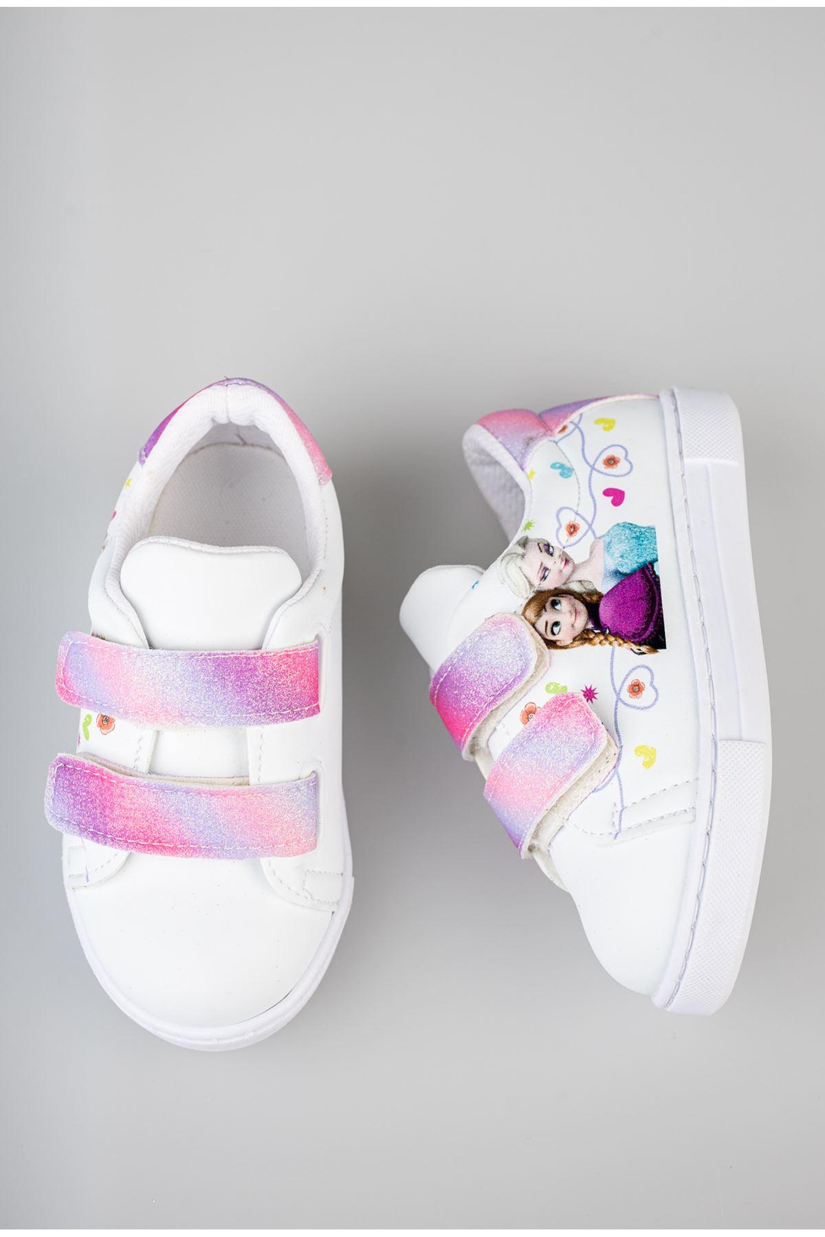 Ortapedik Pedli Cırtlı Beyaz Bebe Ayakkabı