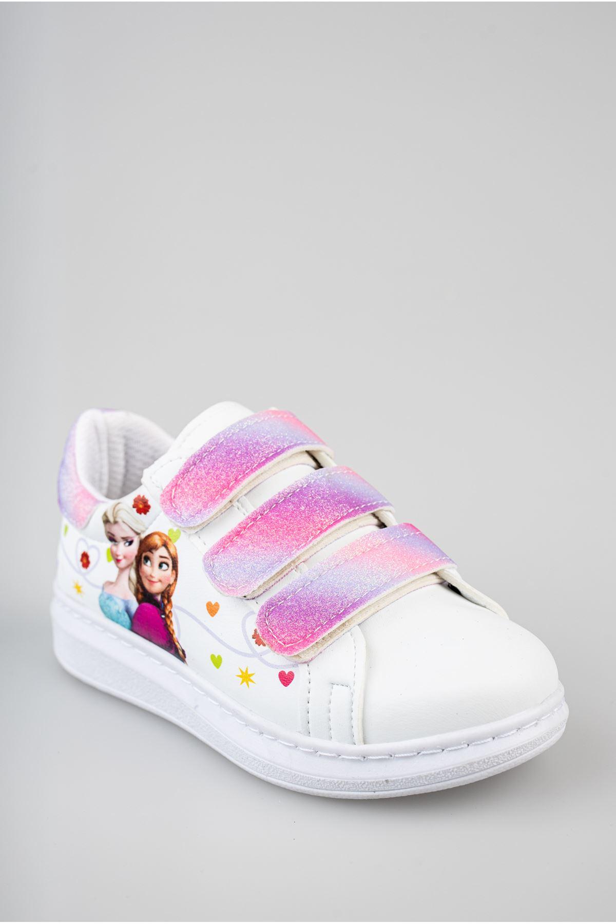 Ortapedik Pedli Cırtlı Beyaz Çocuk Ayakkabı