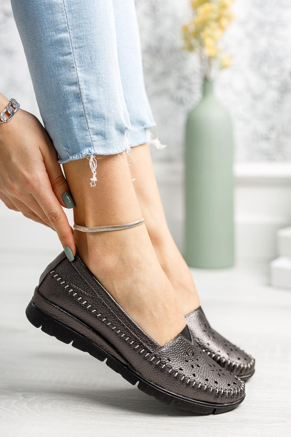 Ortapedik Pedli Platin Cilt Ayakkabı