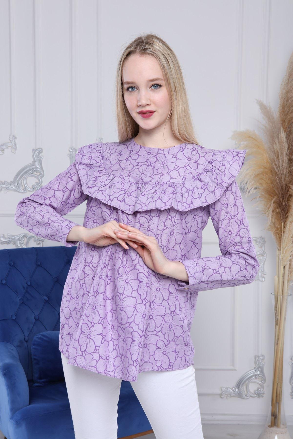 Uzun Kollu Volanlı Bluz
