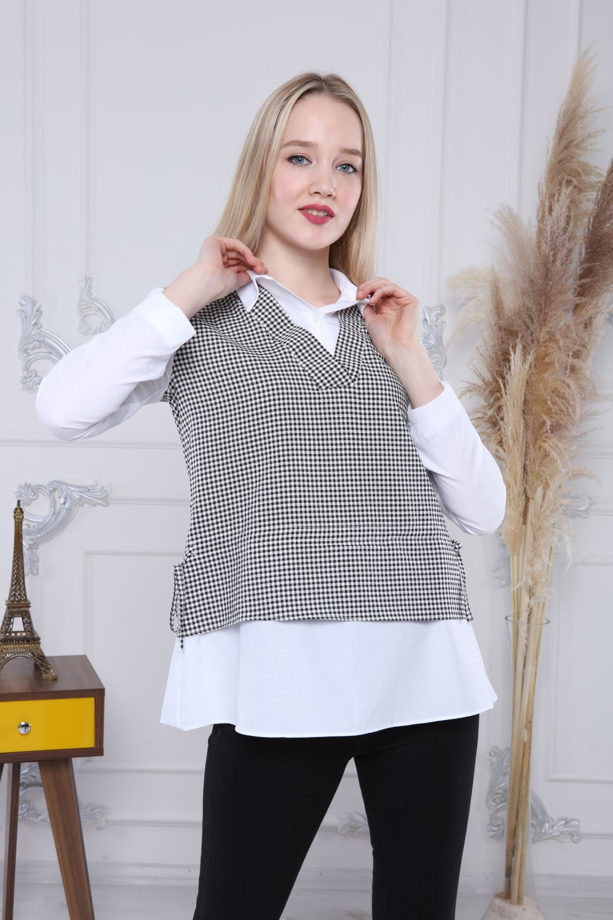 Ekose Gömlek Yaka Bluz