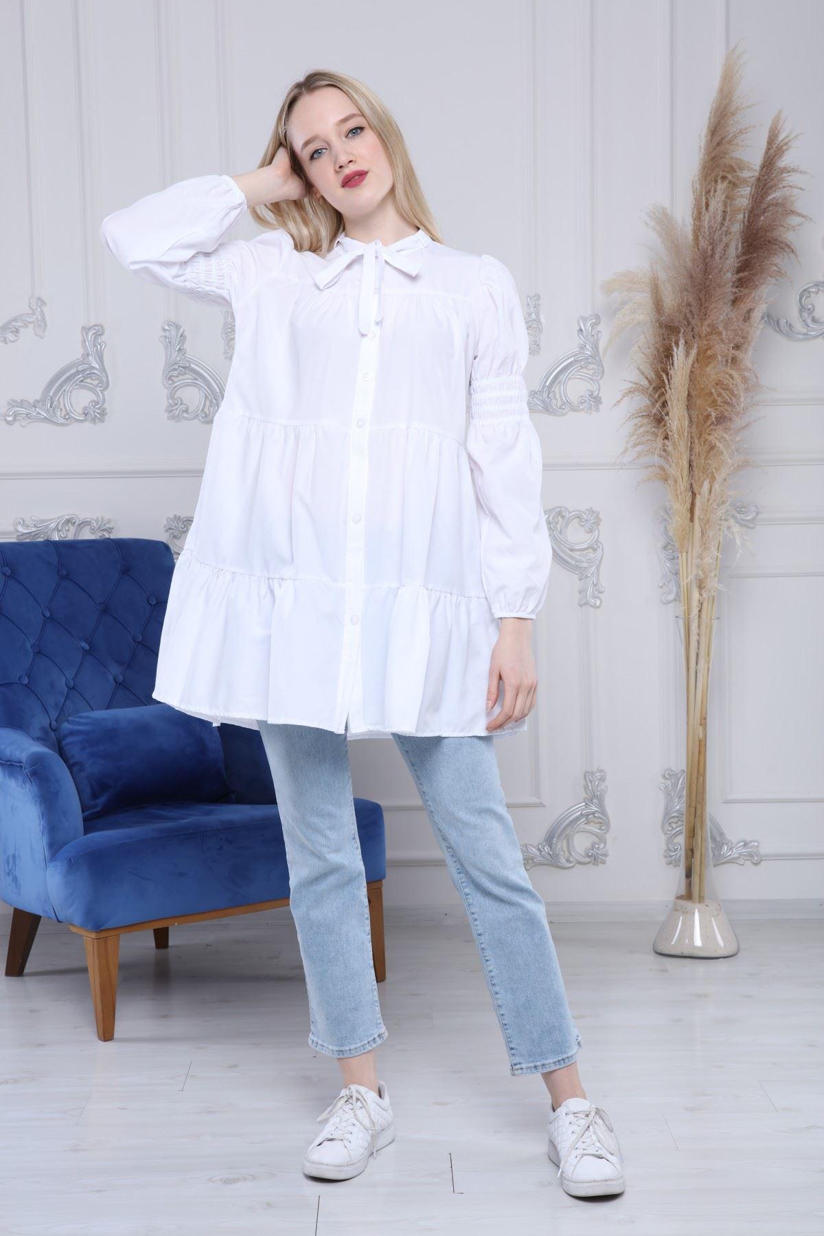 Yaka Fiyonklu Gömlek Tunik