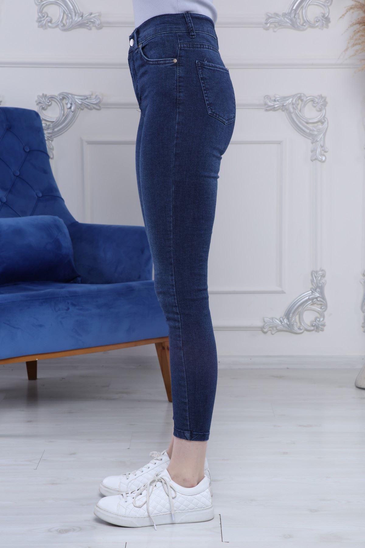 Yüksek Bel Bilekte Kot Pantolon