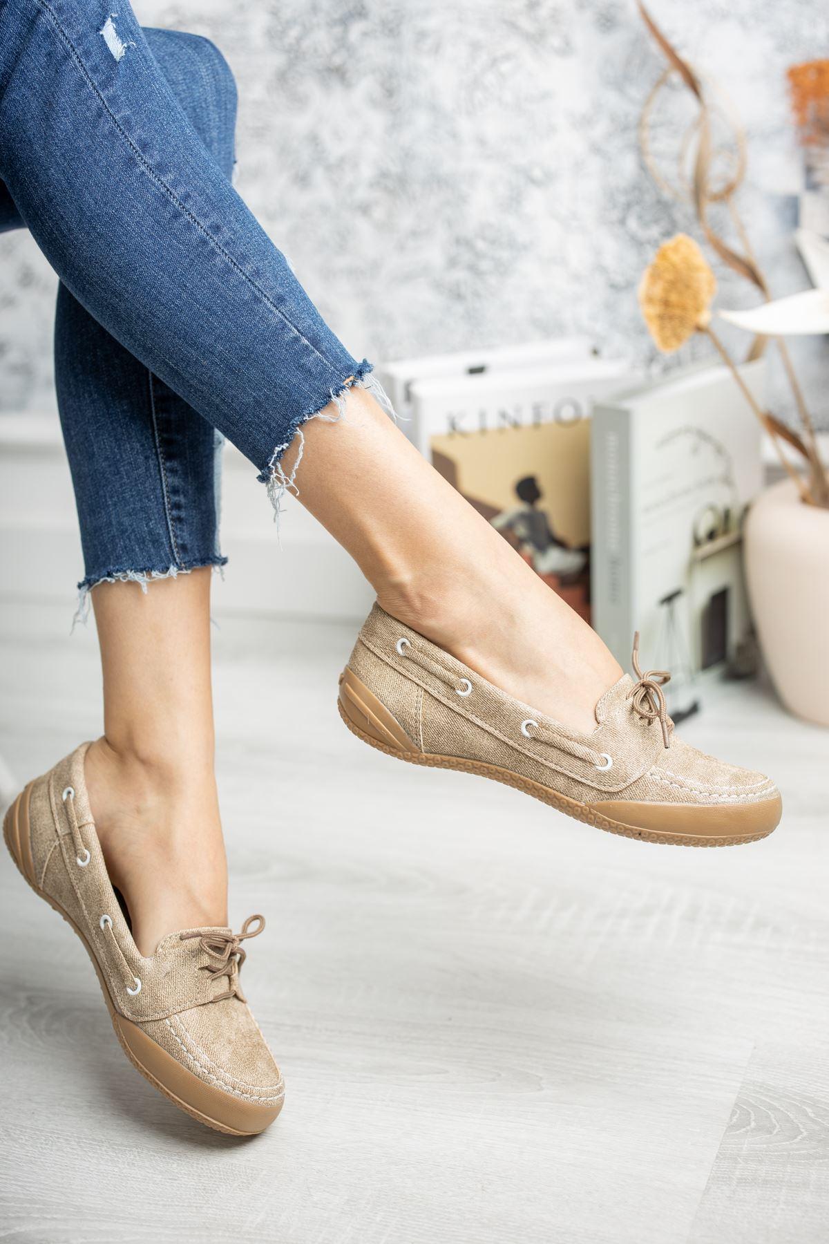 Ortapedik Pedli Bağcıklı Vizon Ayakkabı