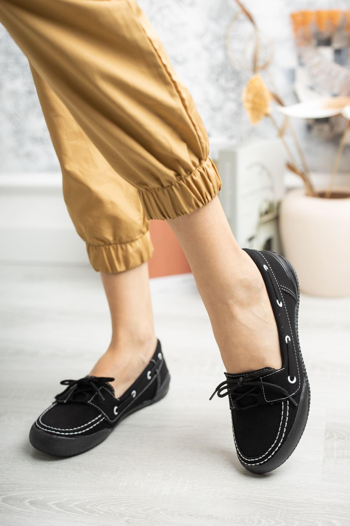 Ortapedik Pedli Bağcıklı Siyah Ayakkabı