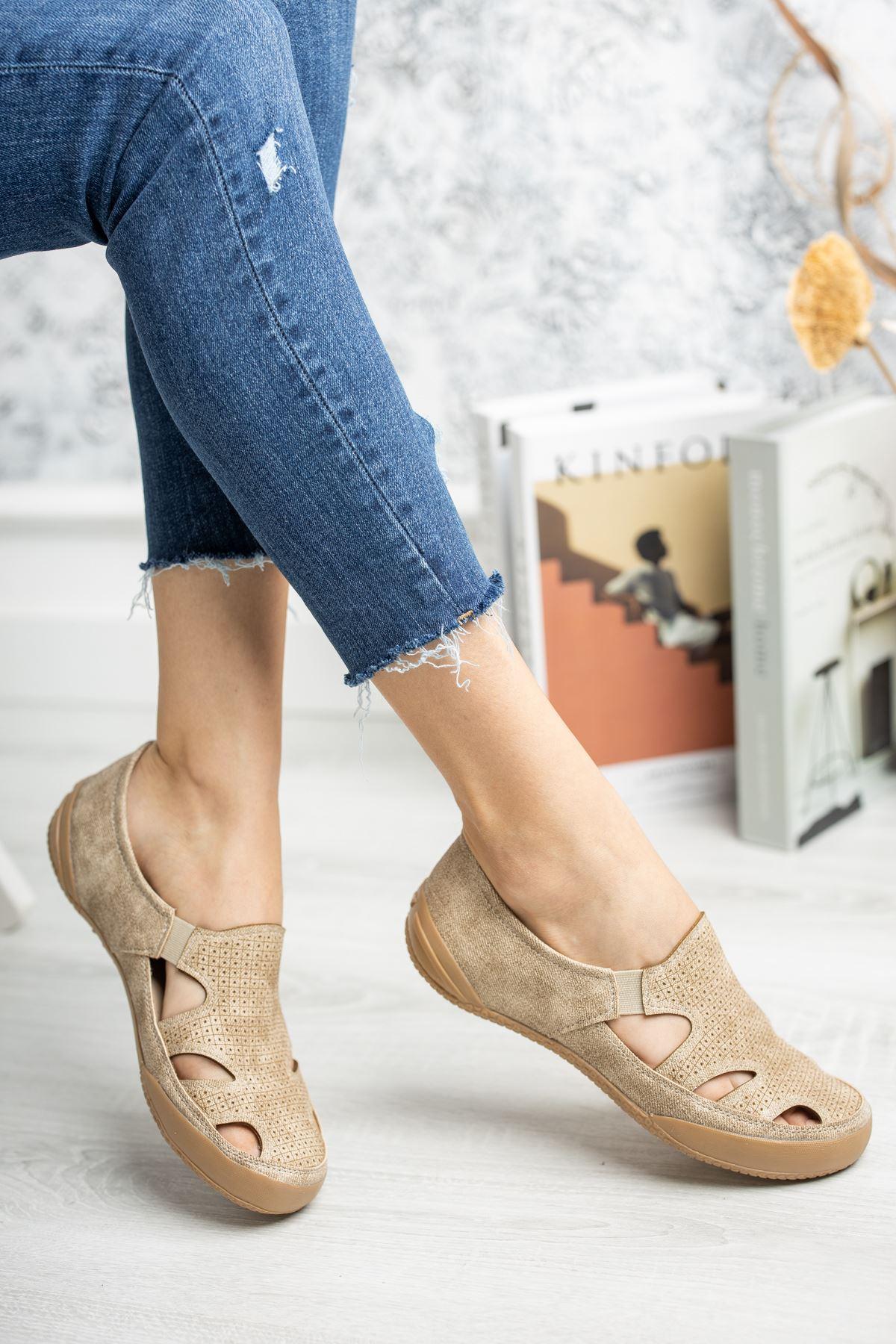 Ortapedik Pedli Lastikli Vizon Ayakkabı