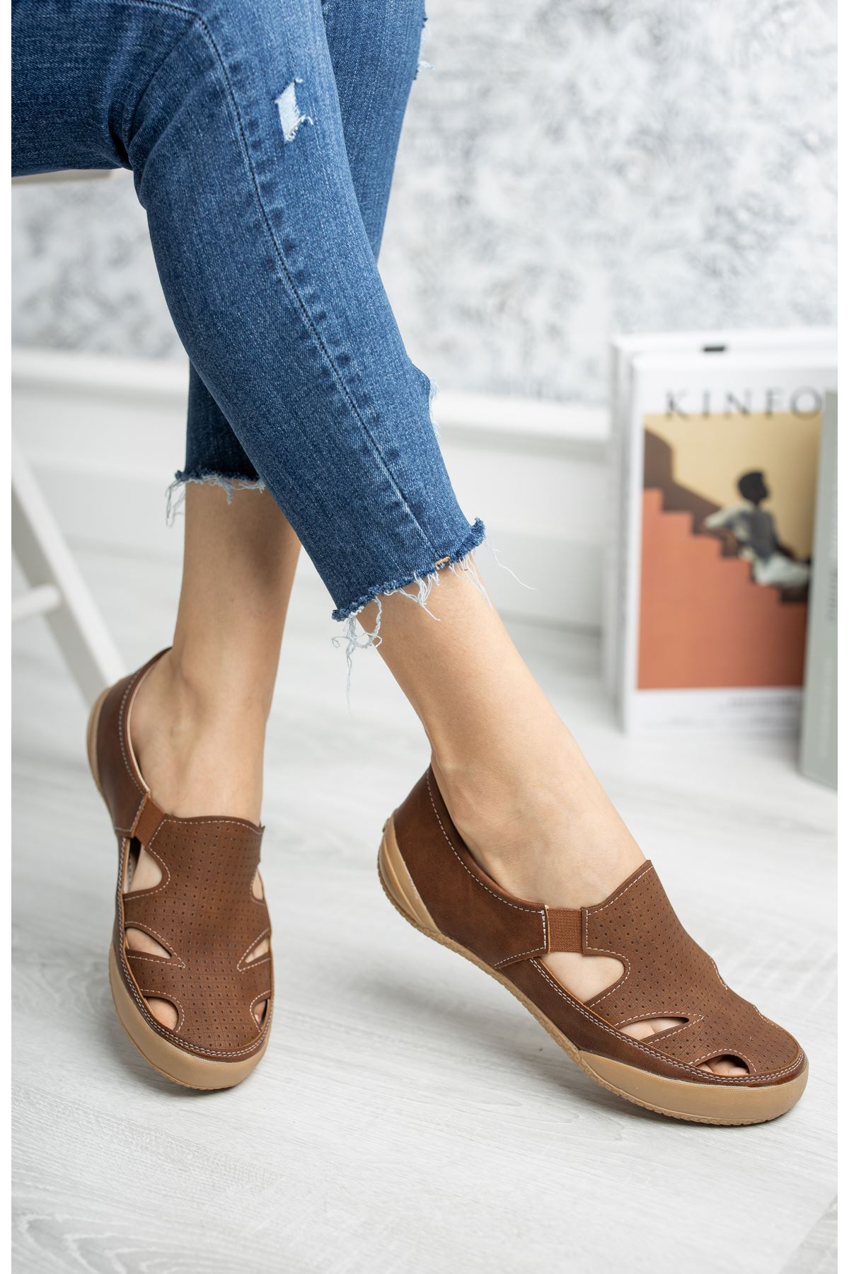 Ortapedik Pedli Lastikli Taba Ayakkabı