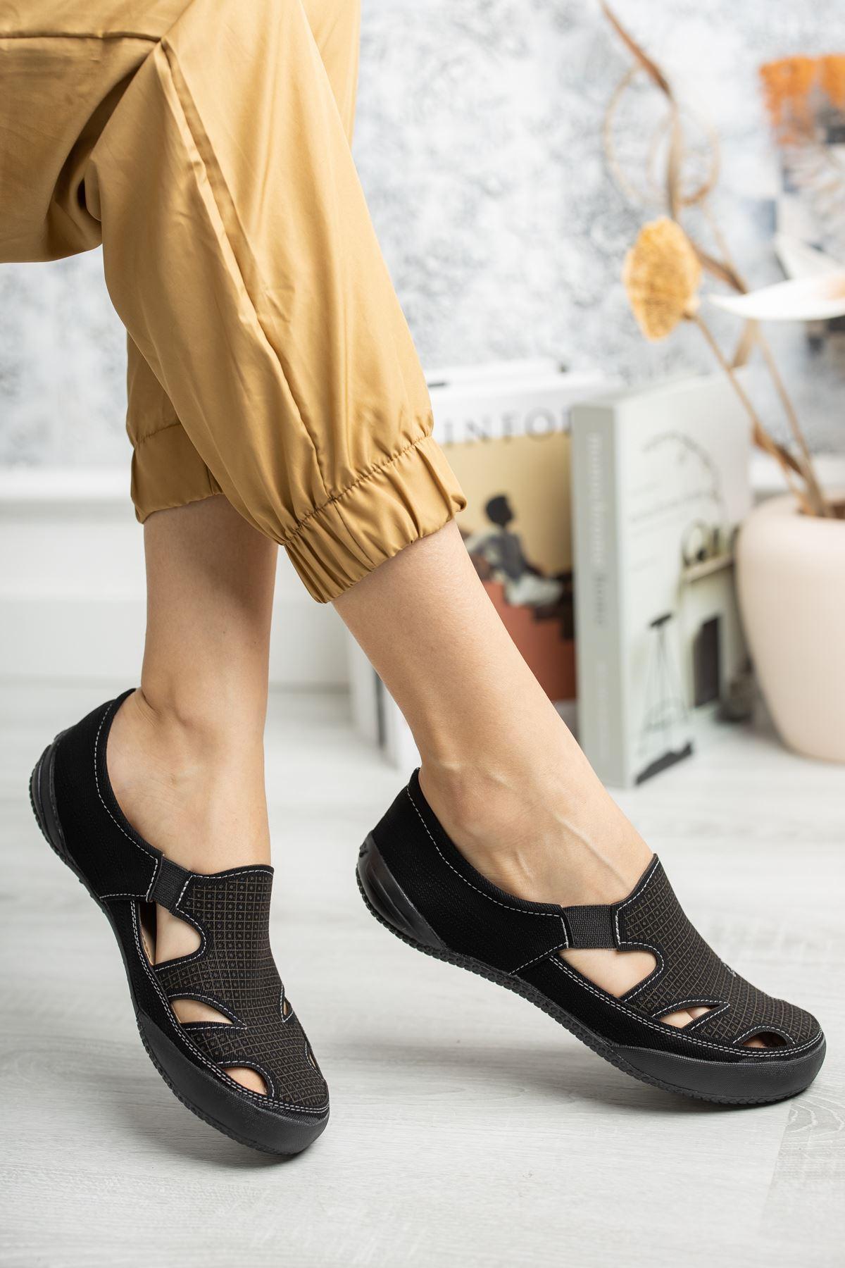 Ortapedik Pedli Lastikli Siyah Ayakkabı