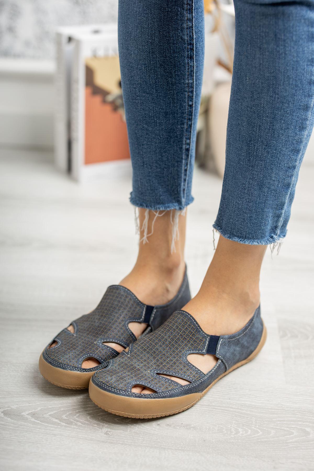 Ortapedik Pedli Lastikli Lacivert Ayakkabı