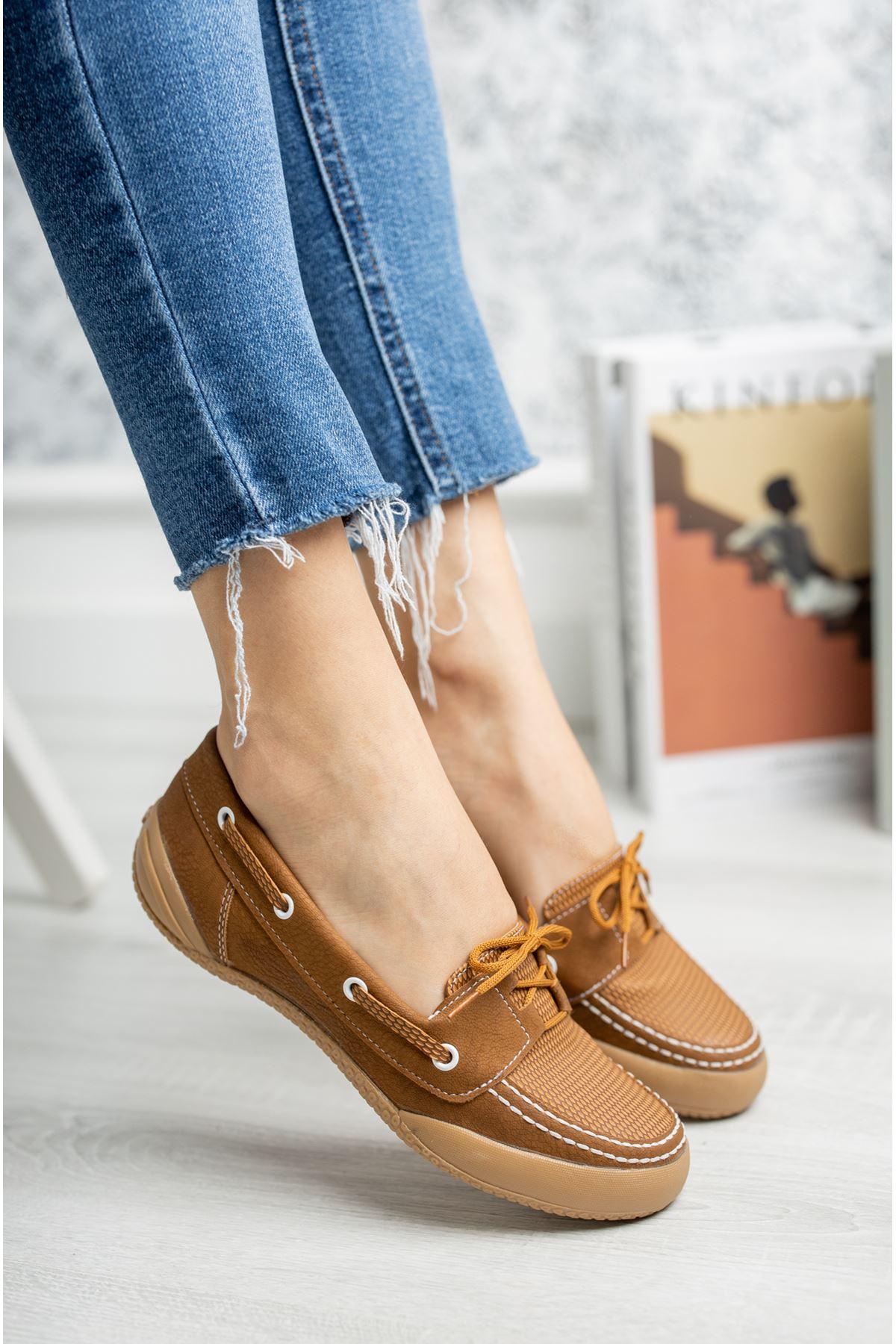 Ortapedik Pedli Bağcıklı Taba Ayakkabı
