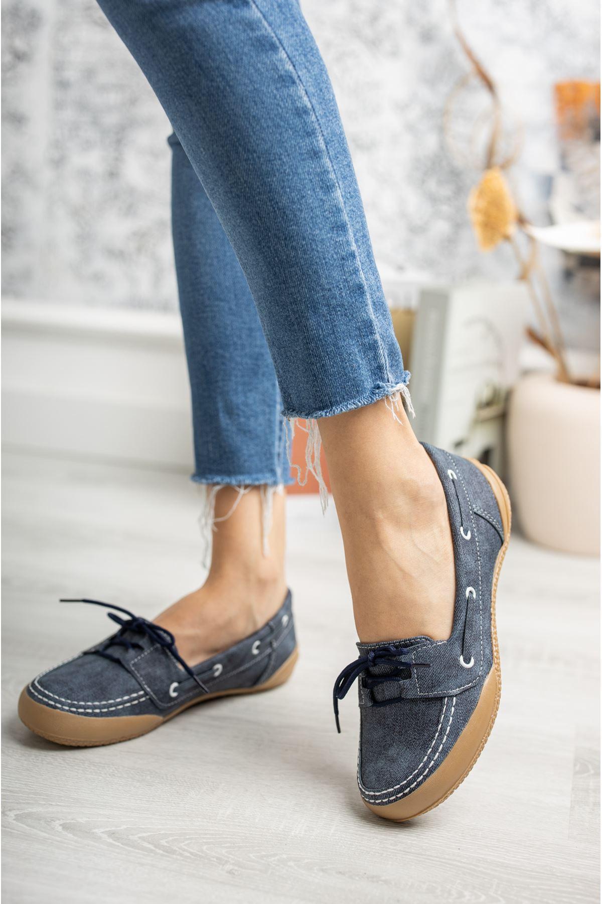 Ortapedik Pedli Bağcıklı Lacivert Ayakkabı