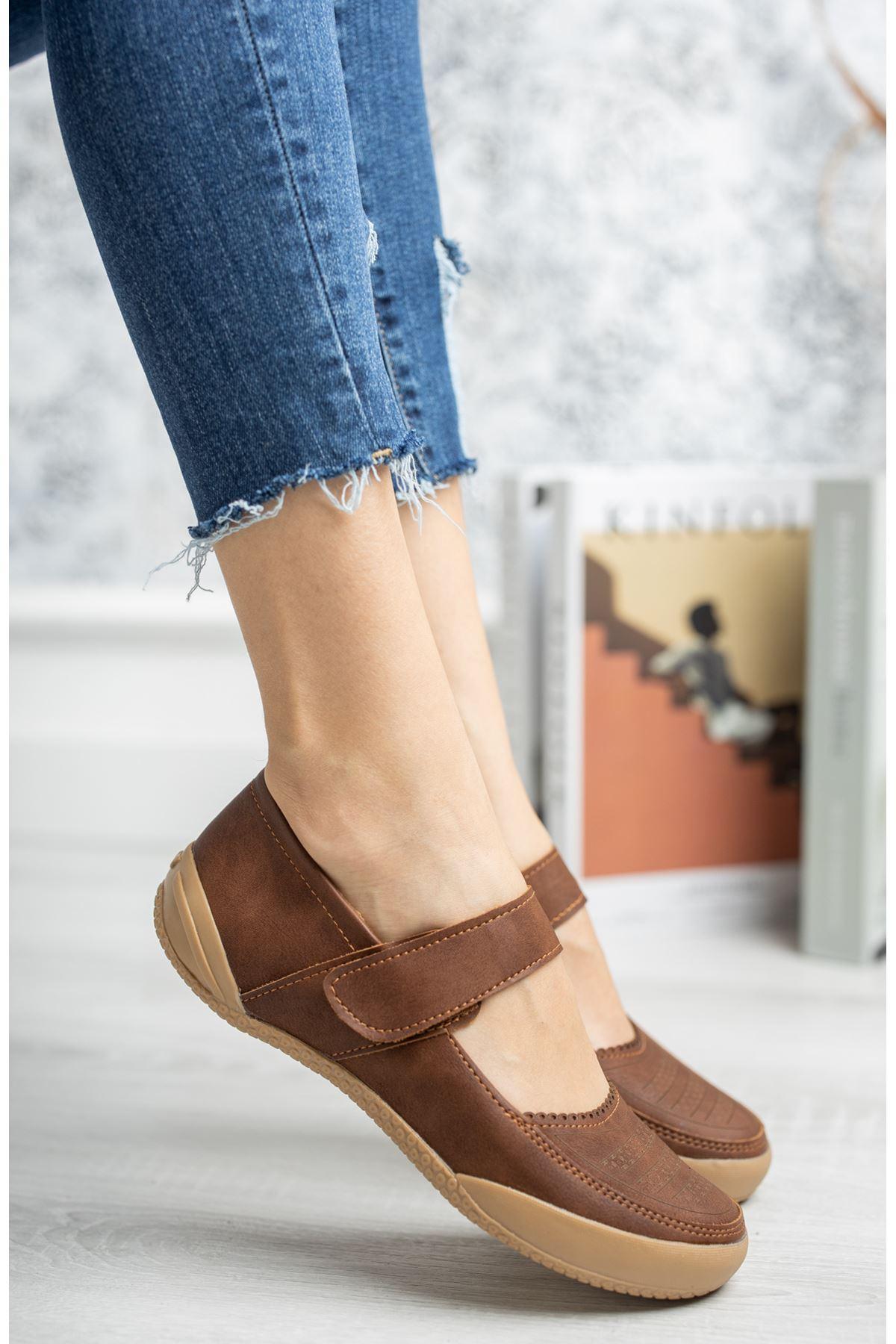 Ortapedik Ped Cırtlı Taba Ayakkabı