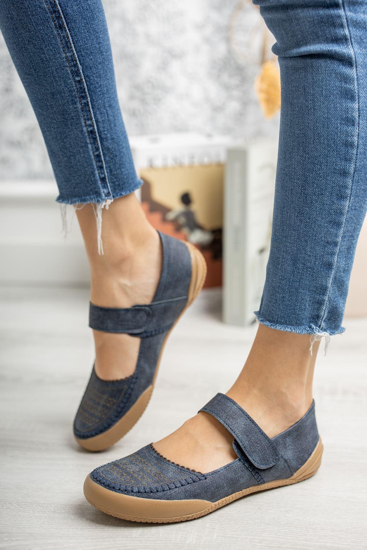 Ortapedik Ped Cırtlı Lacivert Ayakkabı