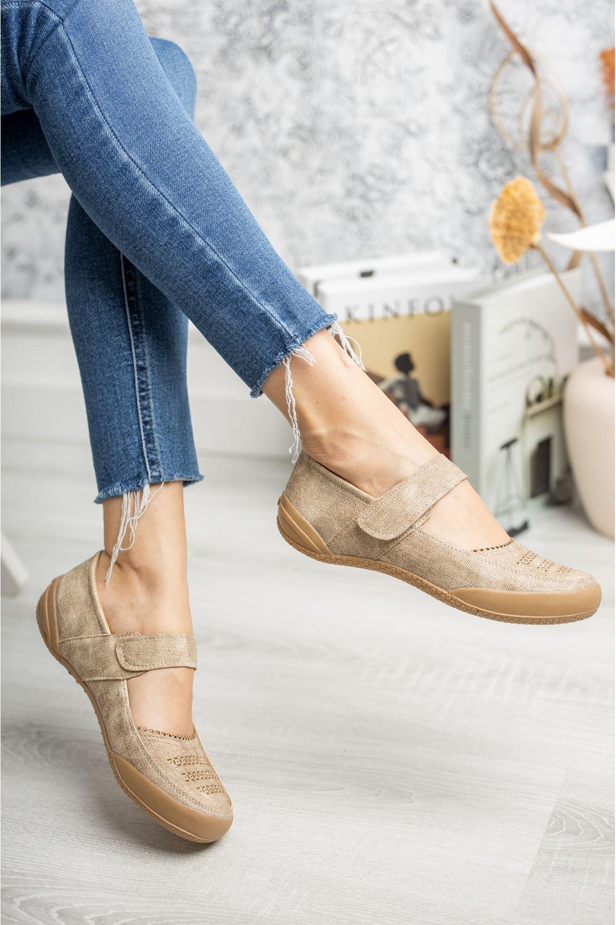 Ortapedik Ped Cırtlı Vizon Ayakkabı