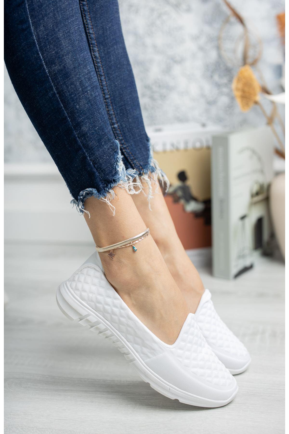 Ortapedik Pedli Beyaz Yürüyüş Ayakkabısı