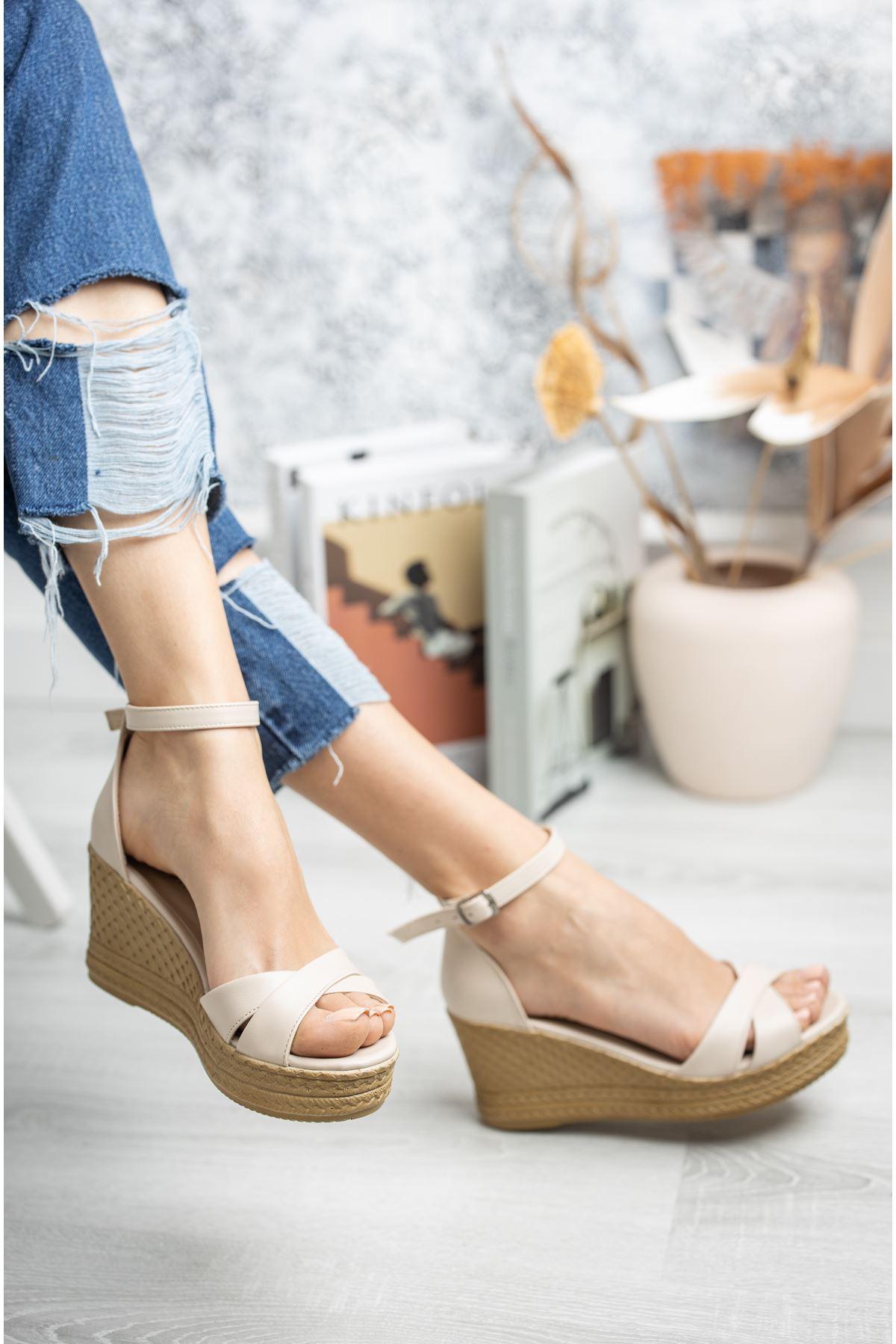Mantar Taban Çapraz Bant Vizon Cilt Sandalet