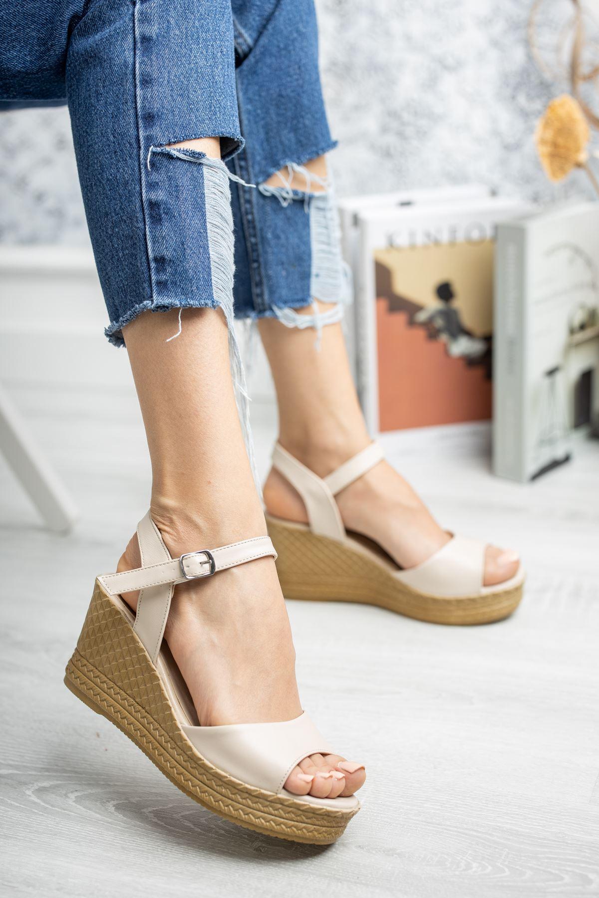 Mantar Taban Tek Bant Vizon Cilt Sandalet