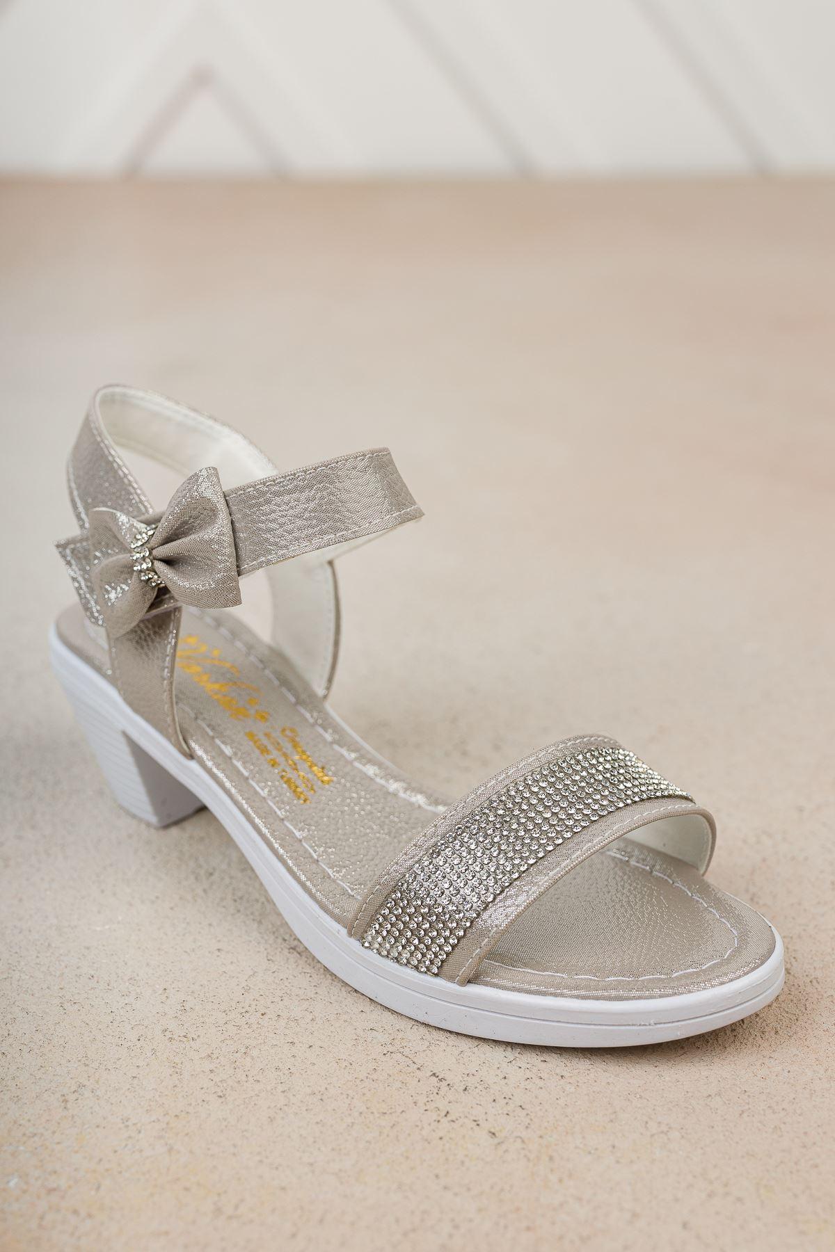 Topuklu Tek Bant Taşlı Sandalet