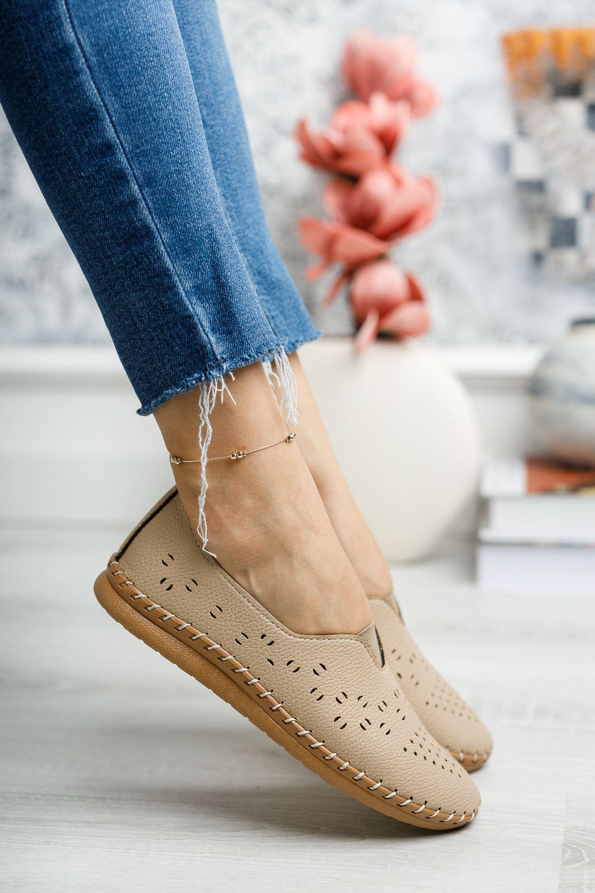 Ortapedik Pedli Bej Ayakkabı