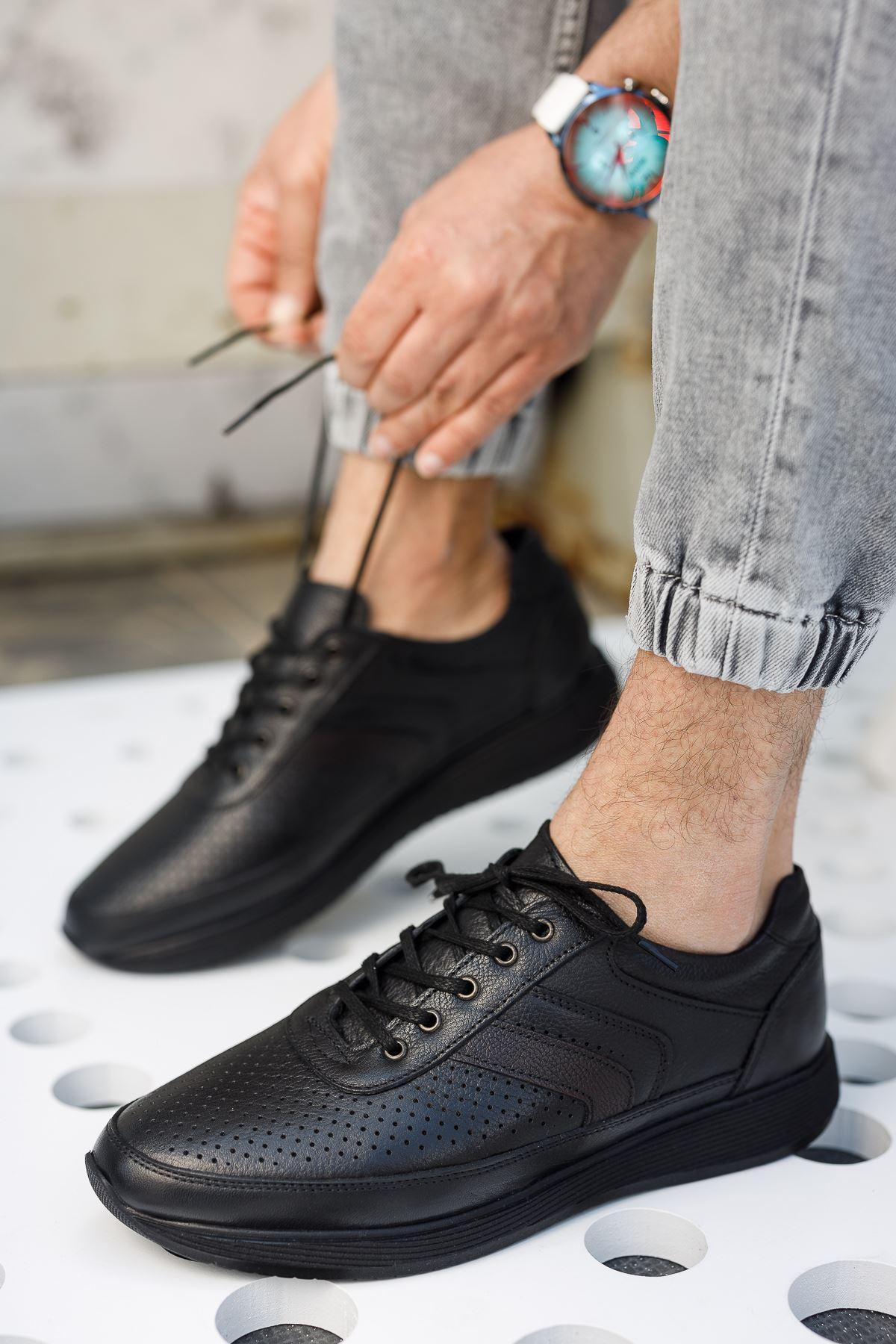 Bağcıklı Ortopedik Taban Siyah Deri Ayakkabı