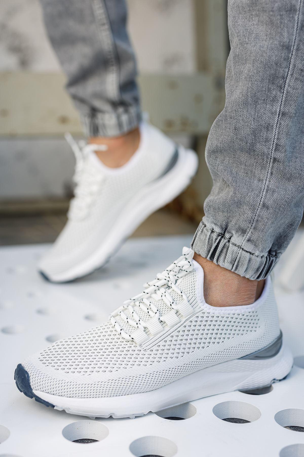 Fileli Beyaz Erkek Spor Ayakkabı