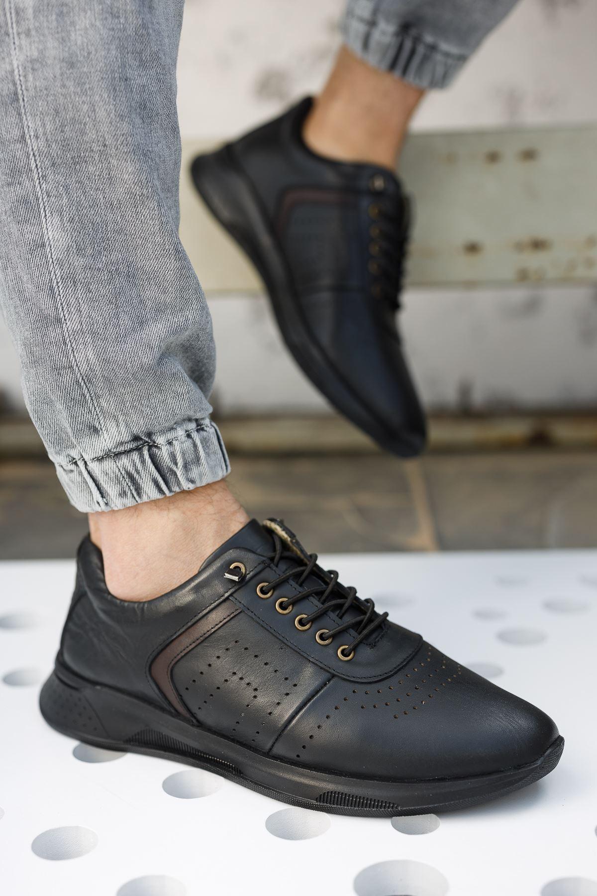Lastik Bağcıklı Siyah Erkek Deri Ayakkabı