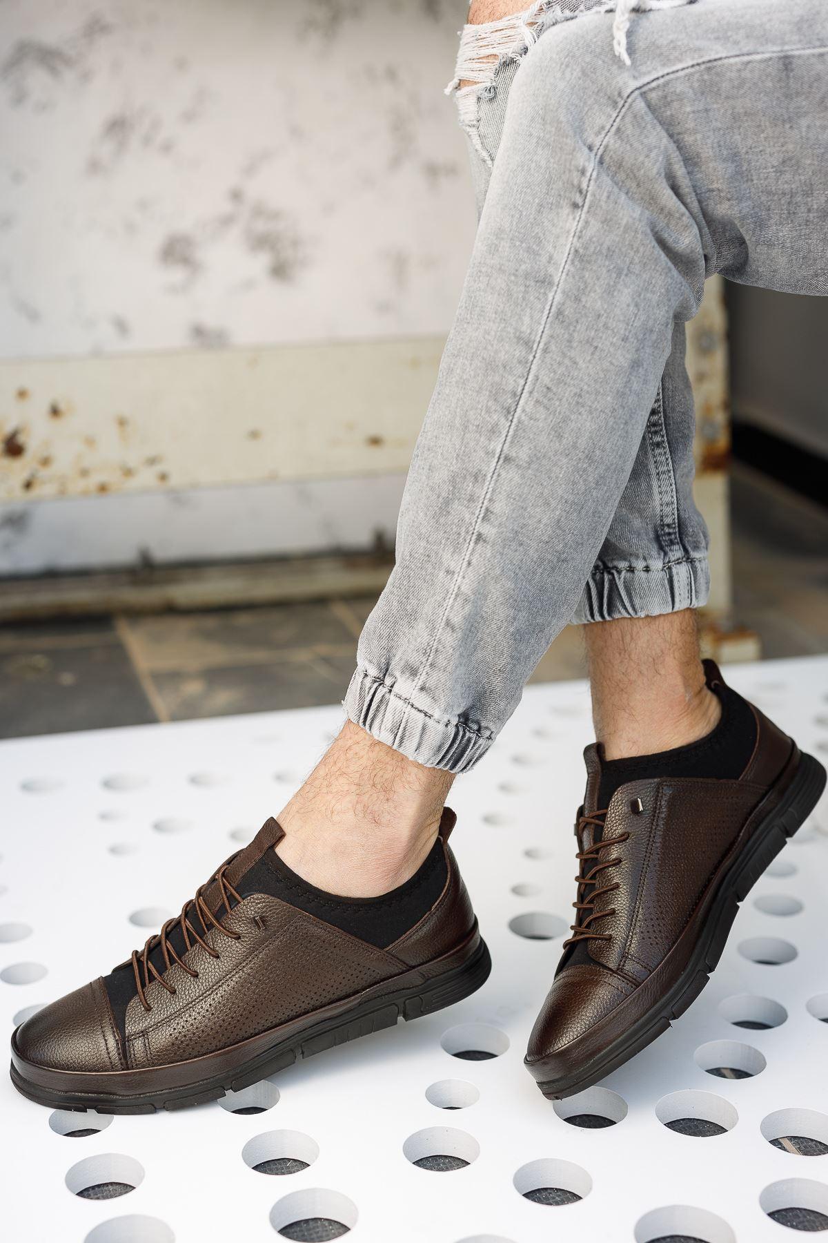 Lastik Bağcıklı Bilekten Streçli Kahverengi Deri Ayakkabı