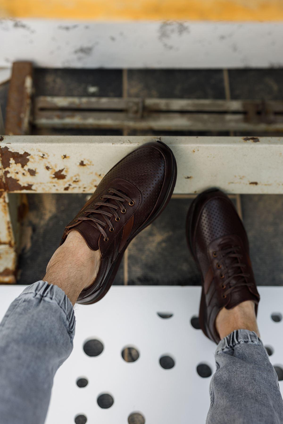 Bağcıklı Ortopedik Taban Kahverengi Deri Ayakkabı