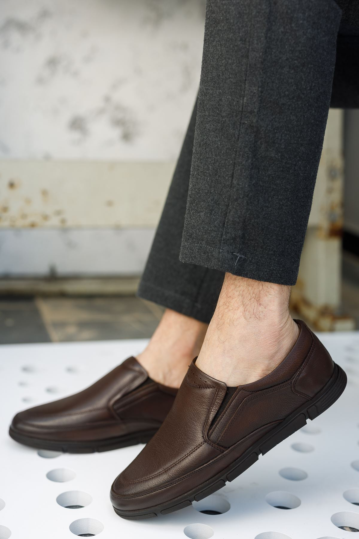 Ortopedik Taban Kahverengi Deri Ayakkabı