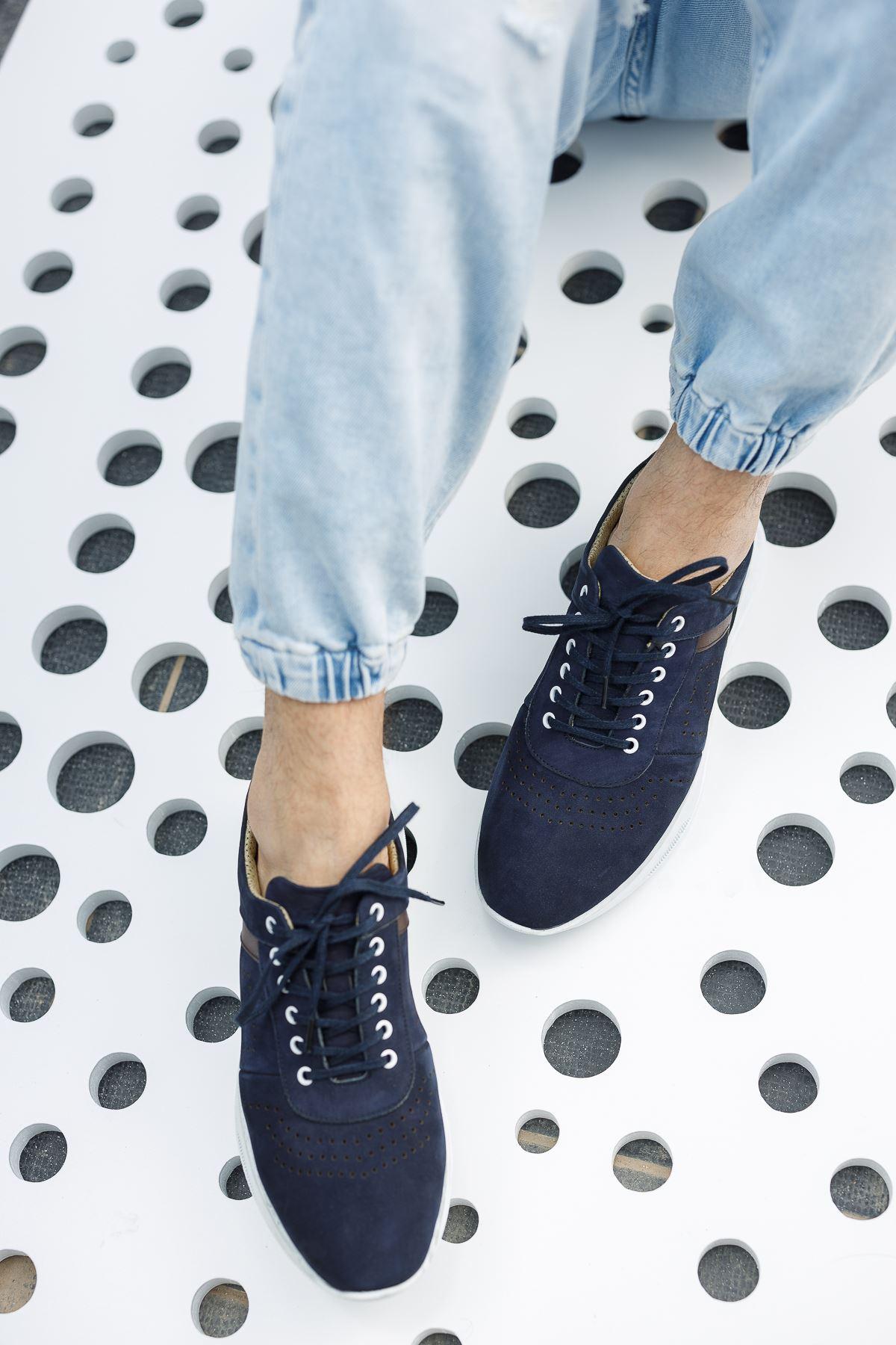 Bağcıklı Lacivert Süet Erkek Ayakkabı