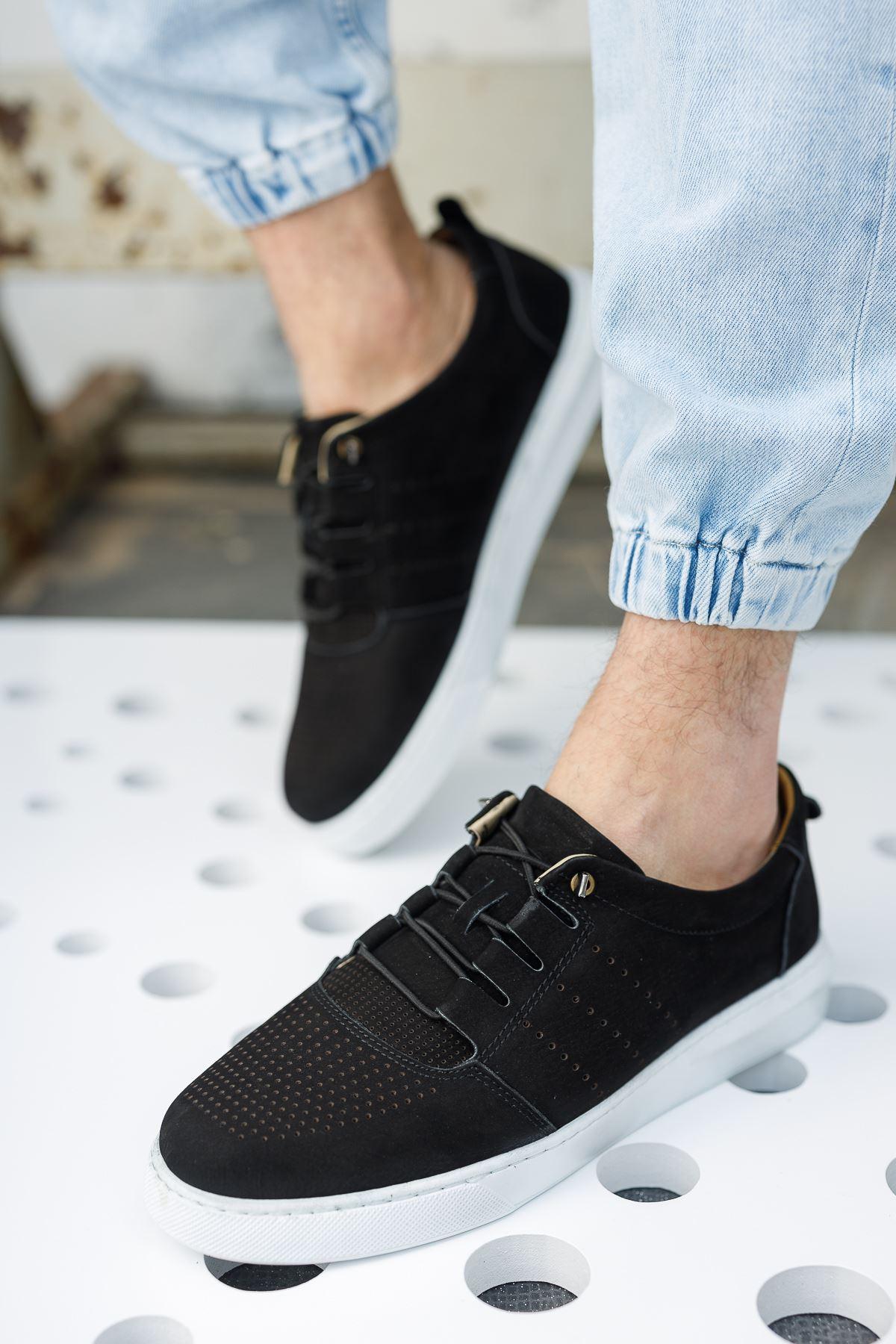 Lastik Bağcıklı Ortopedik Taban Siyah Süet Deri Ayakkabı