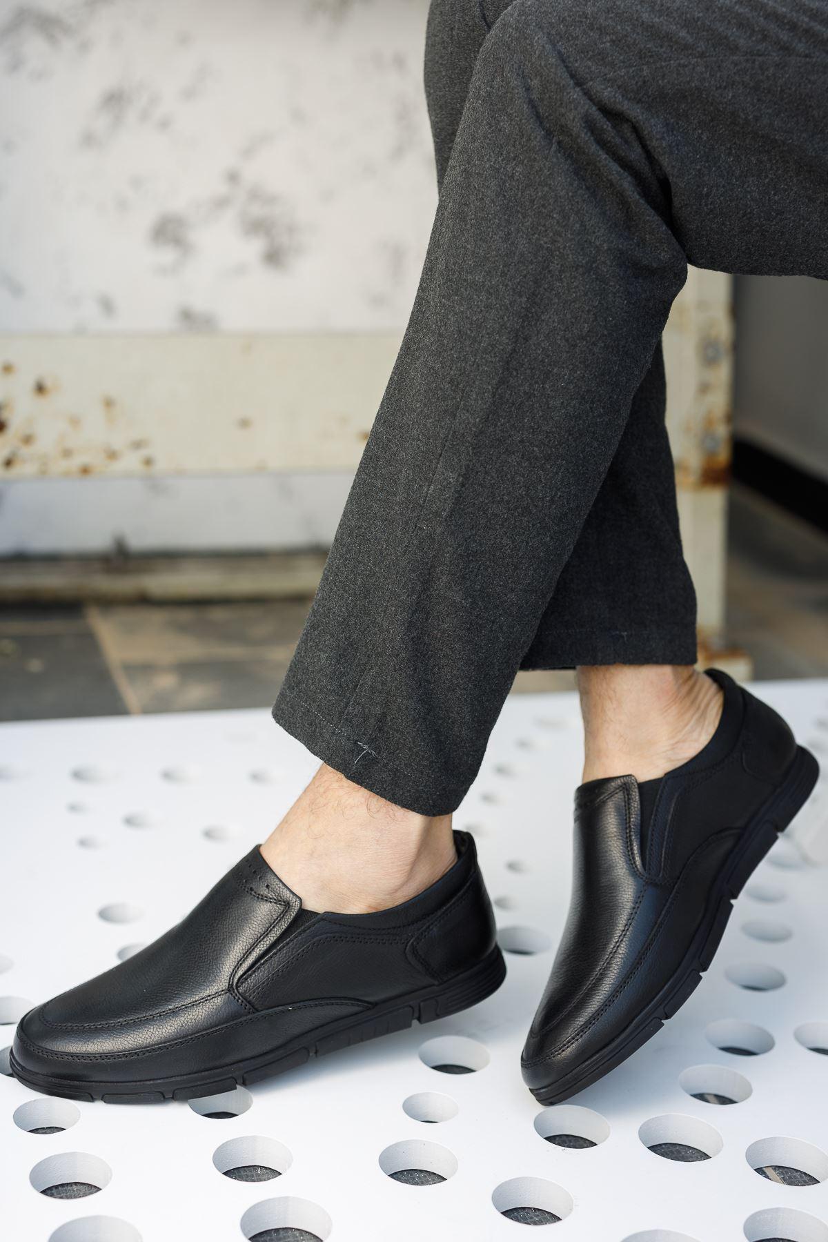 Ortopedik Taban Siyah Deri Ayakkabı