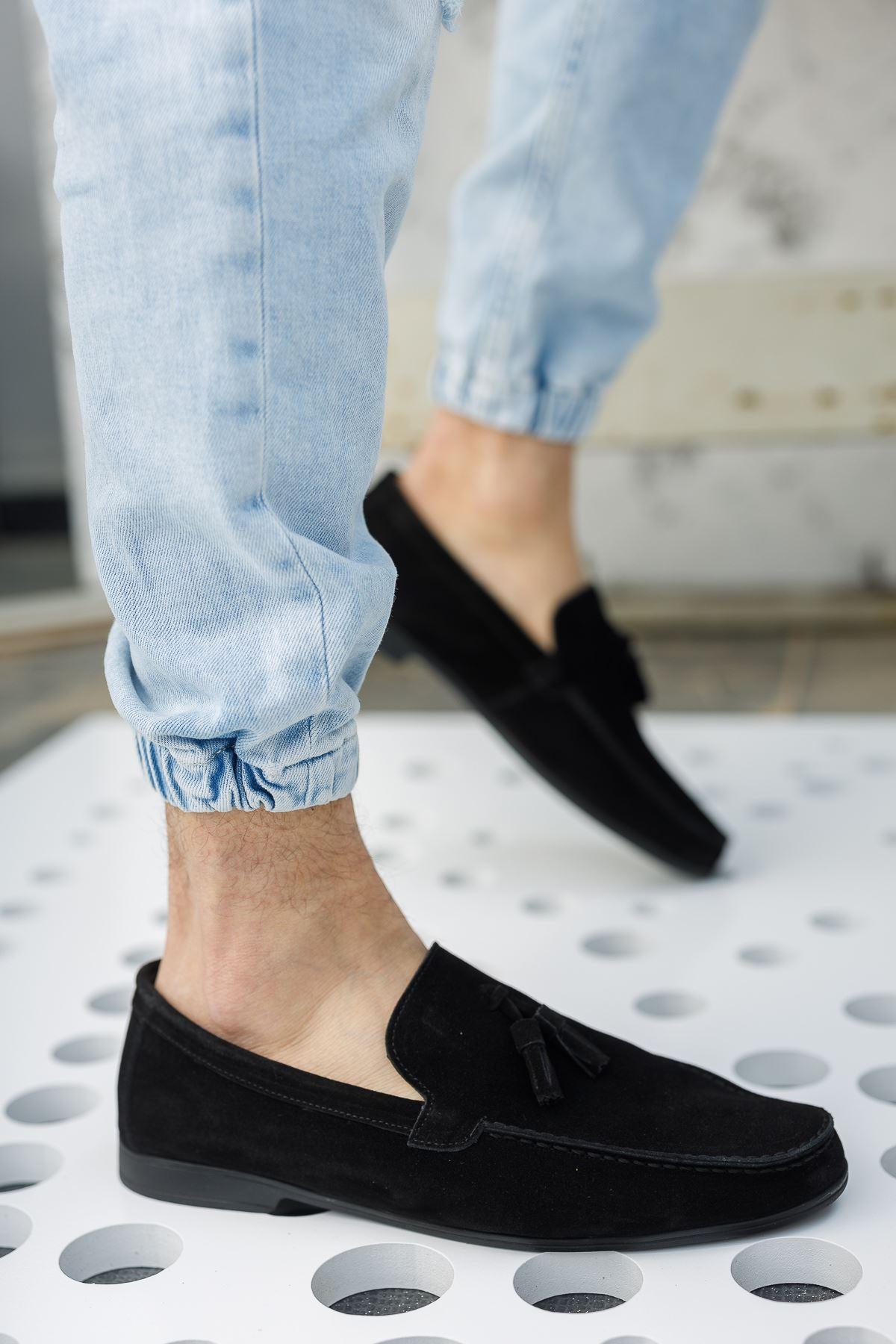 Püsküllü Siyah Süet Deri Ayakkabı