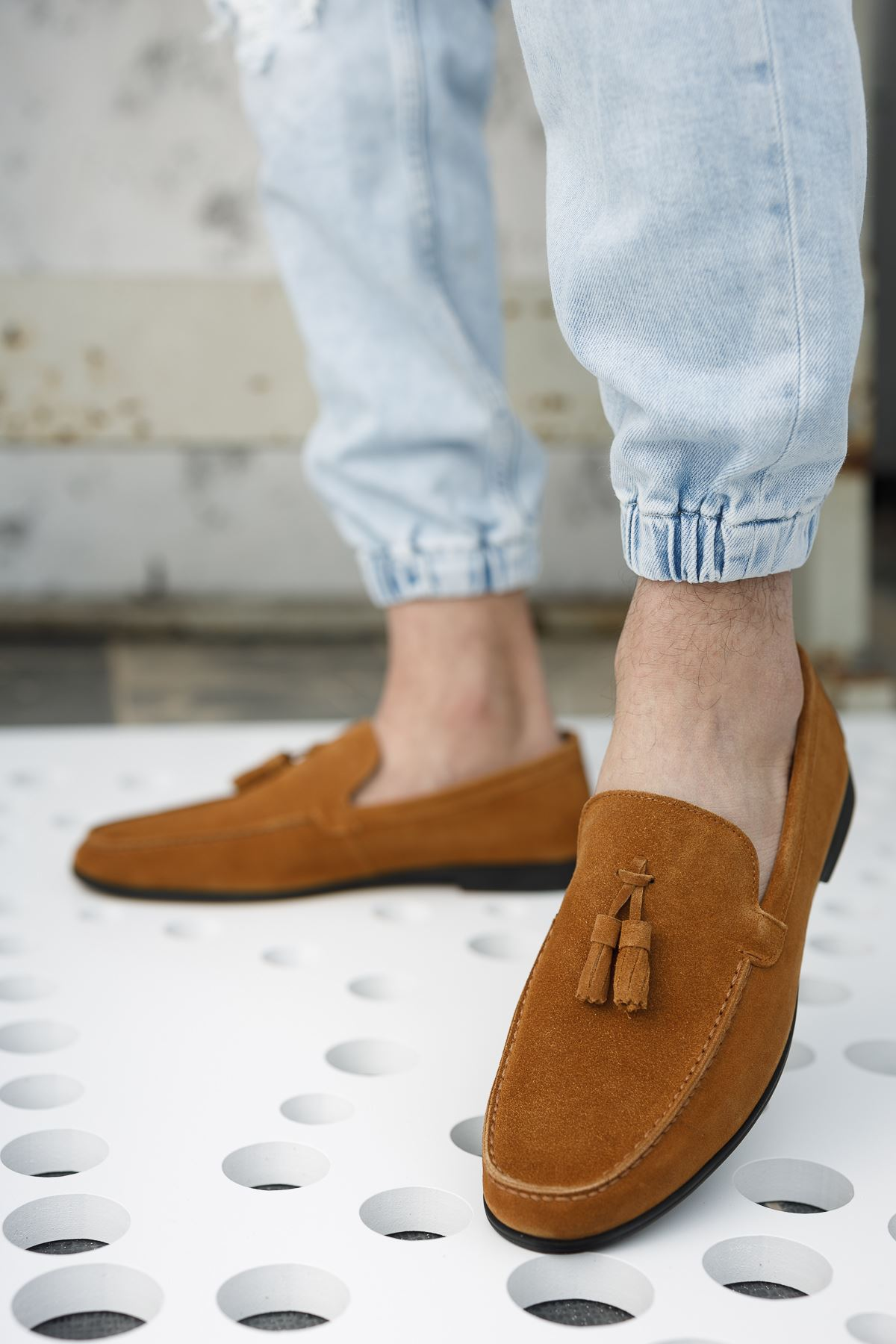 Püsküllü Taba Süet Deri Ayakkabı