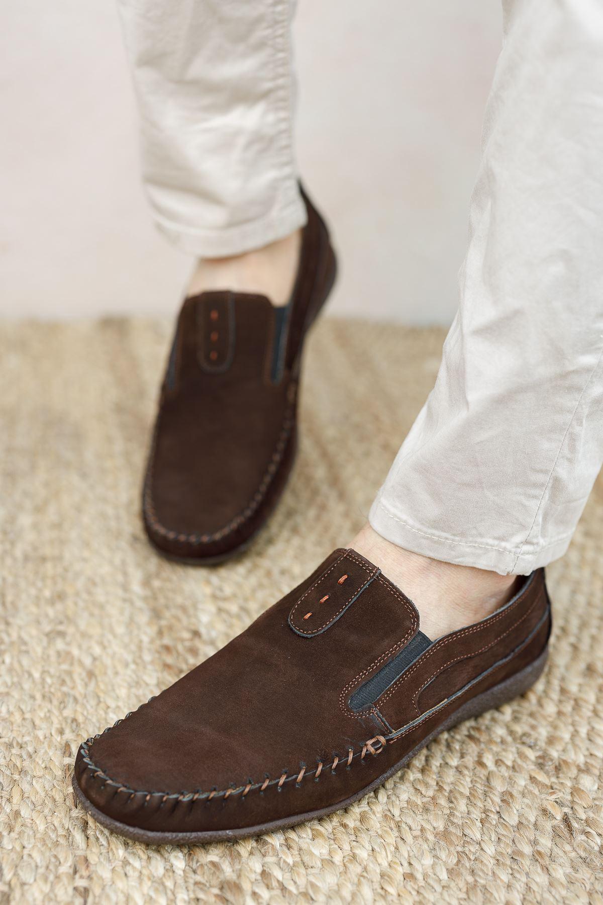 Ortopedik Taban Kahverengi Süet Deri Ayakkabı