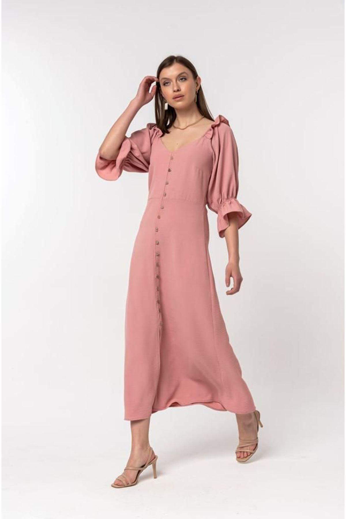 Kolu Fırfırlı Elbise