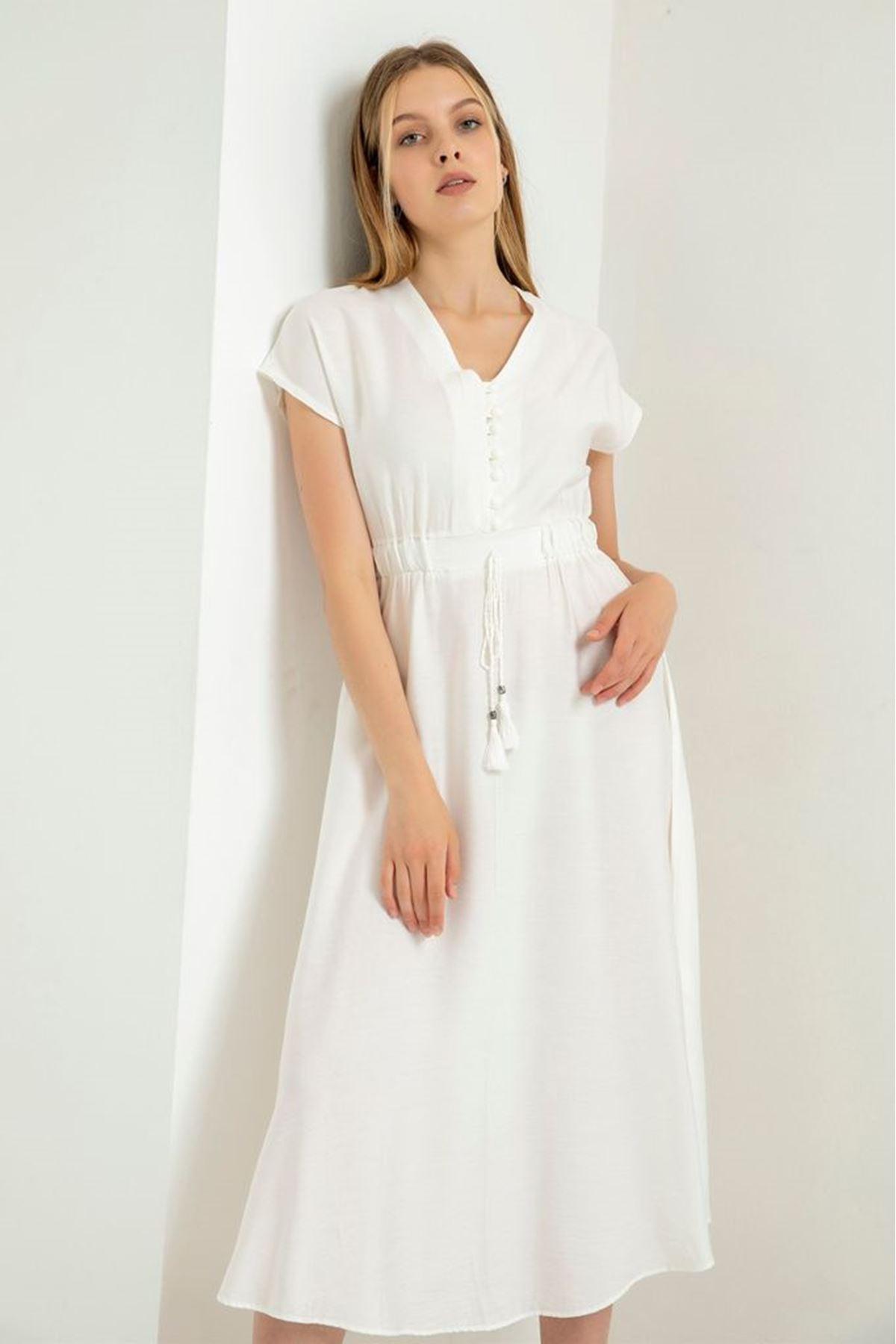Beli Büzgülü Düğmeli Elbise