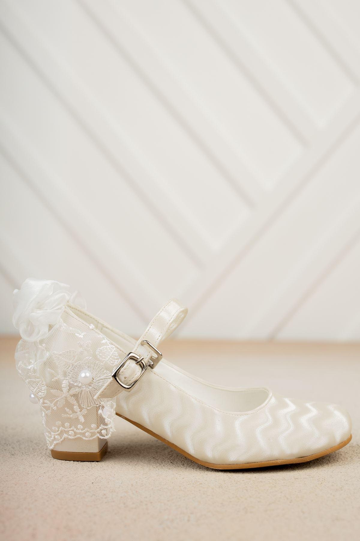 Arkası Duvaklı Topuklu Sedef Su Yolu Ayakkabı
