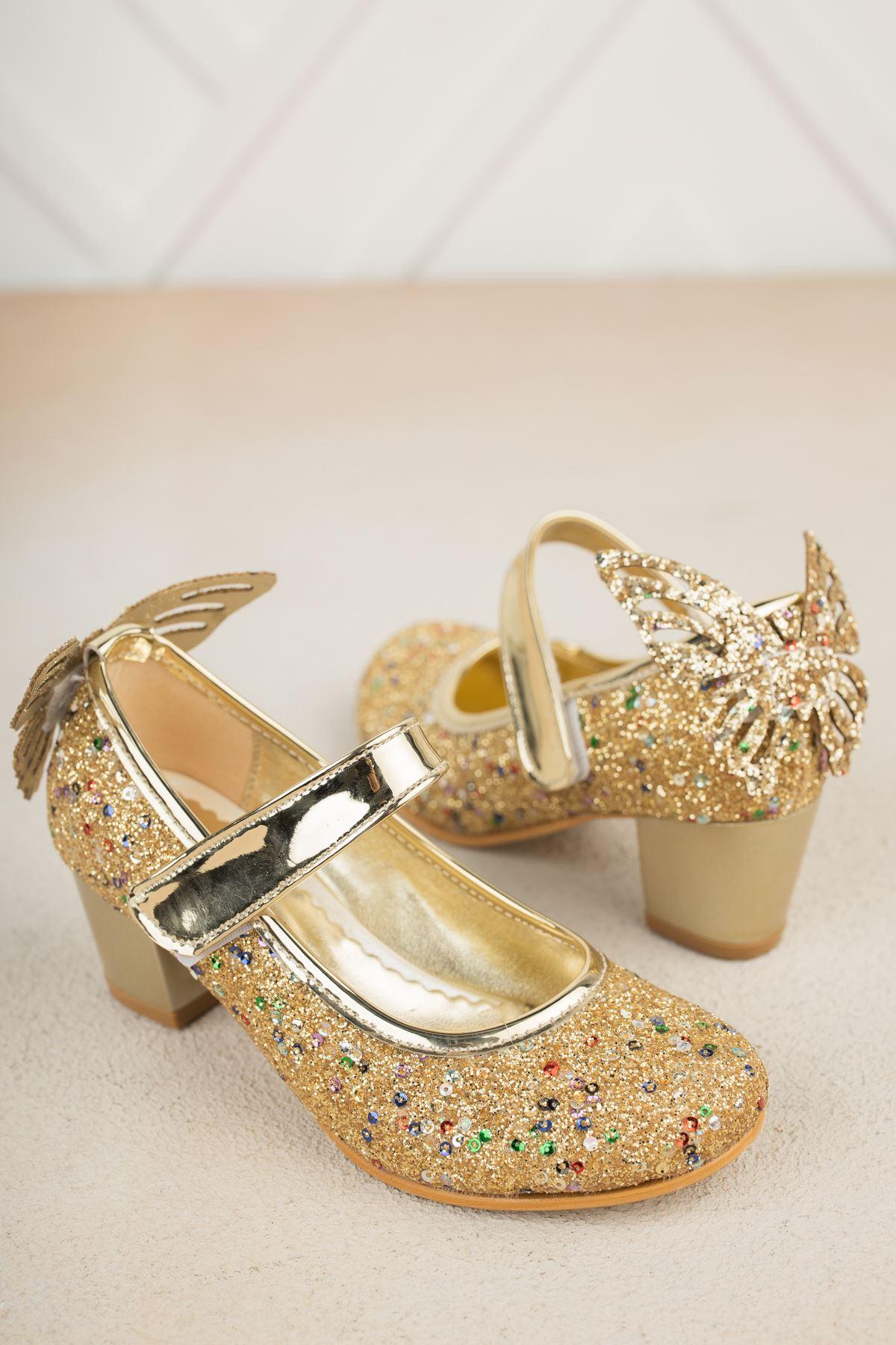Topuklu Arkası Kelebekli Altın Taşlı Ayakkabı