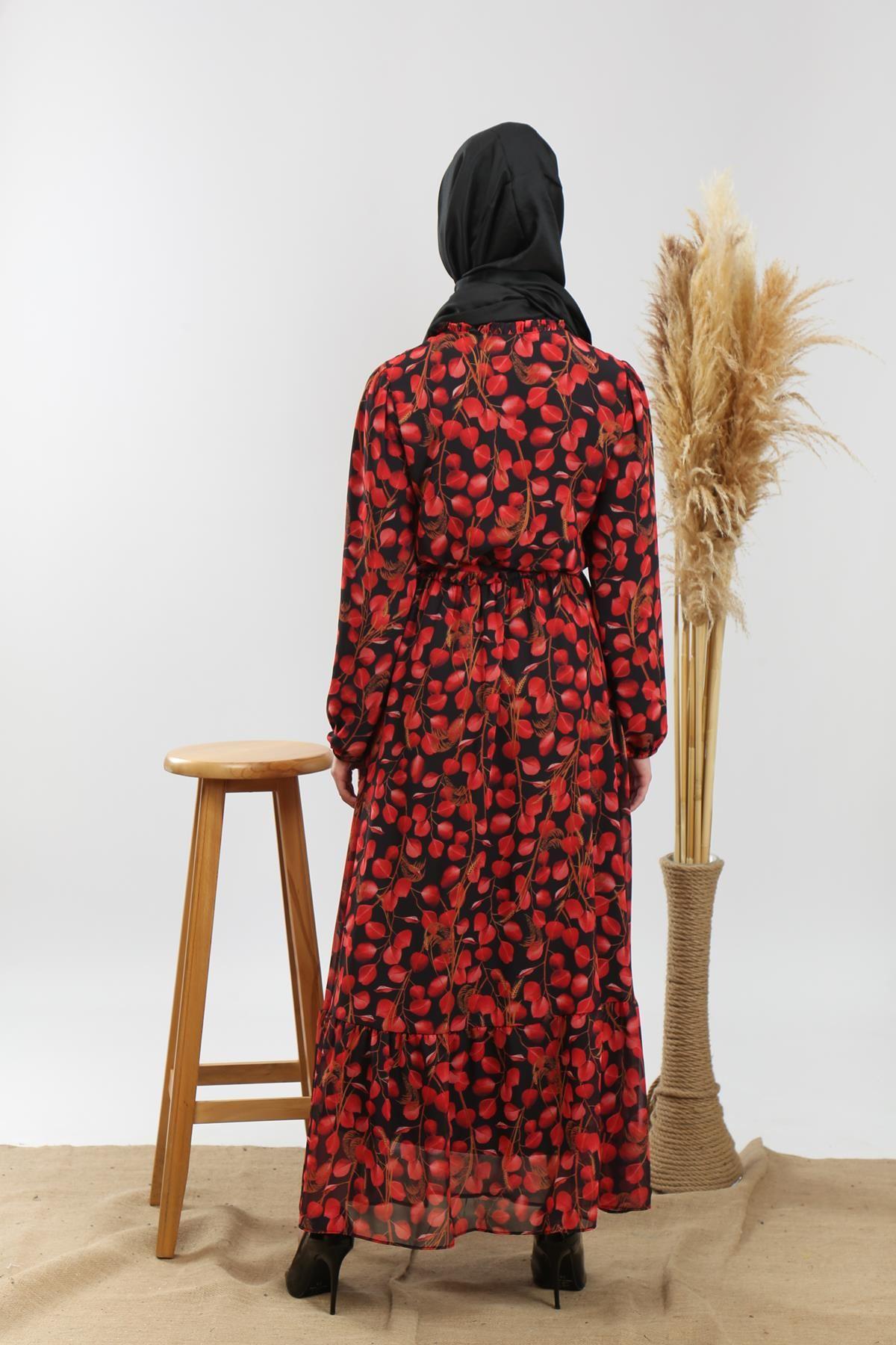 İpli Uzun Elbise