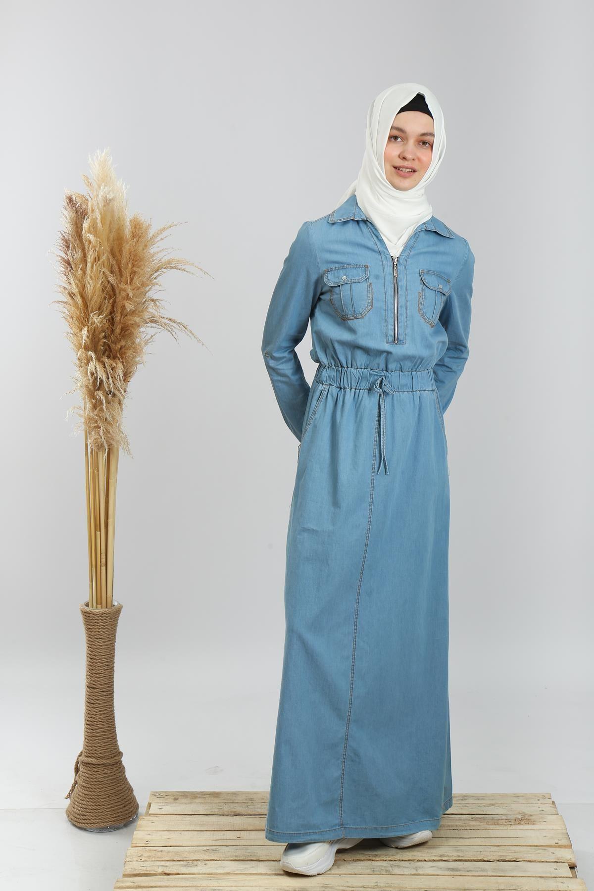 Çift Cep Uzun Kot Elbise